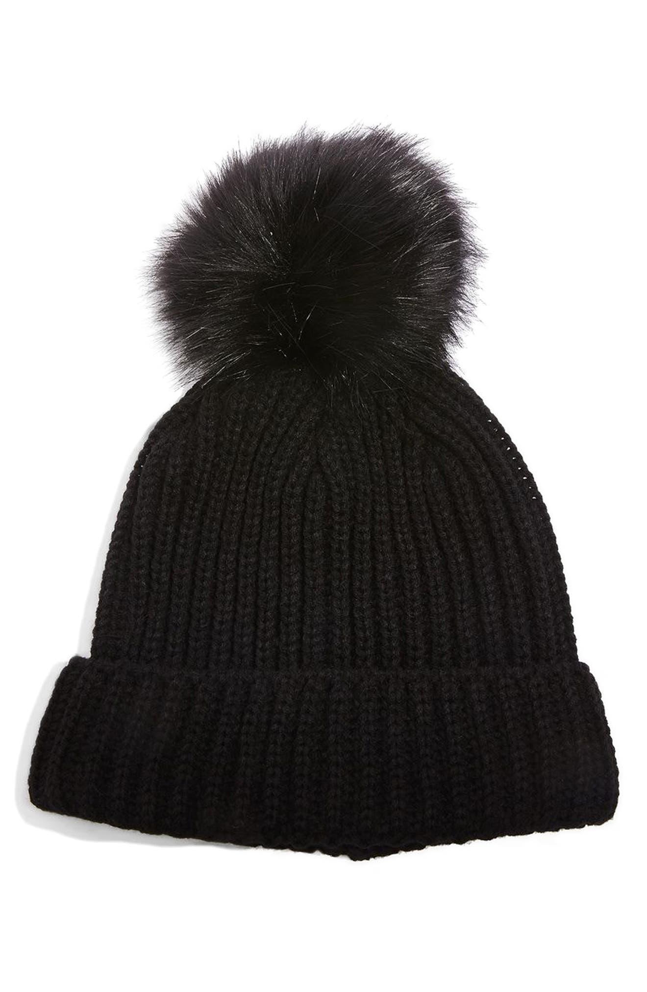 Faux Fur Pompom Beanie,                         Main,                         color, 001