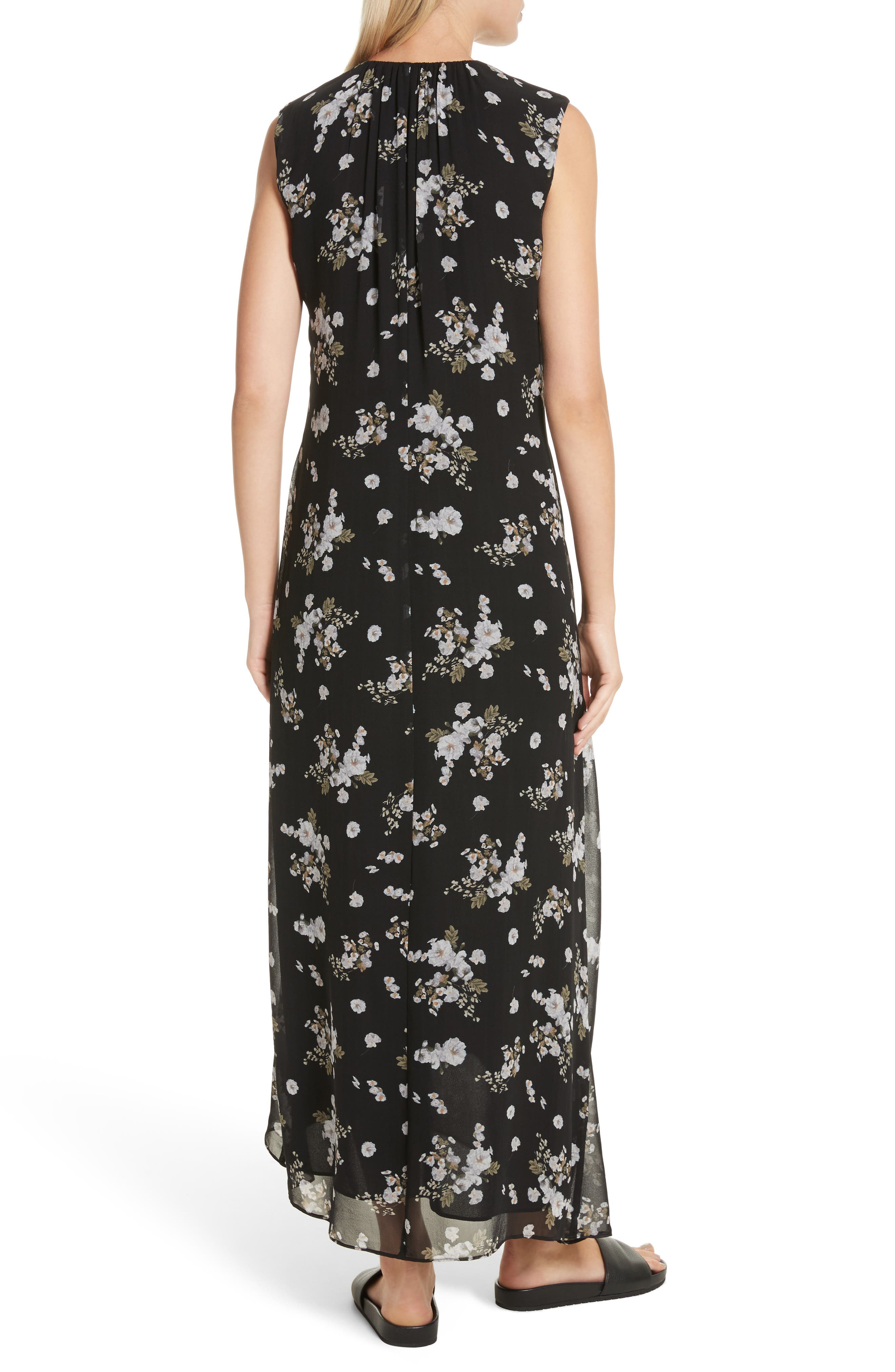 Tossed Floral Side Drape Silk Maxi Dress,                             Alternate thumbnail 2, color,                             001