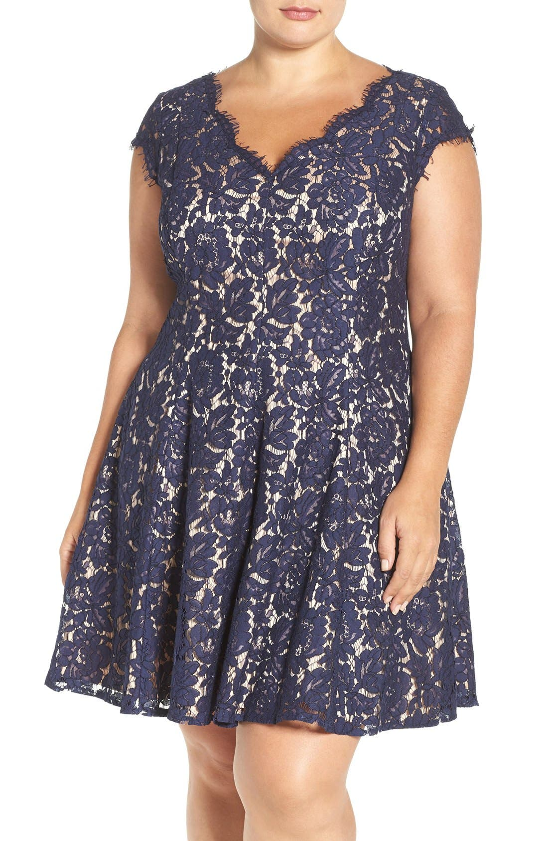 Lace Fit & Flare Dress,                             Main thumbnail 1, color,                             410