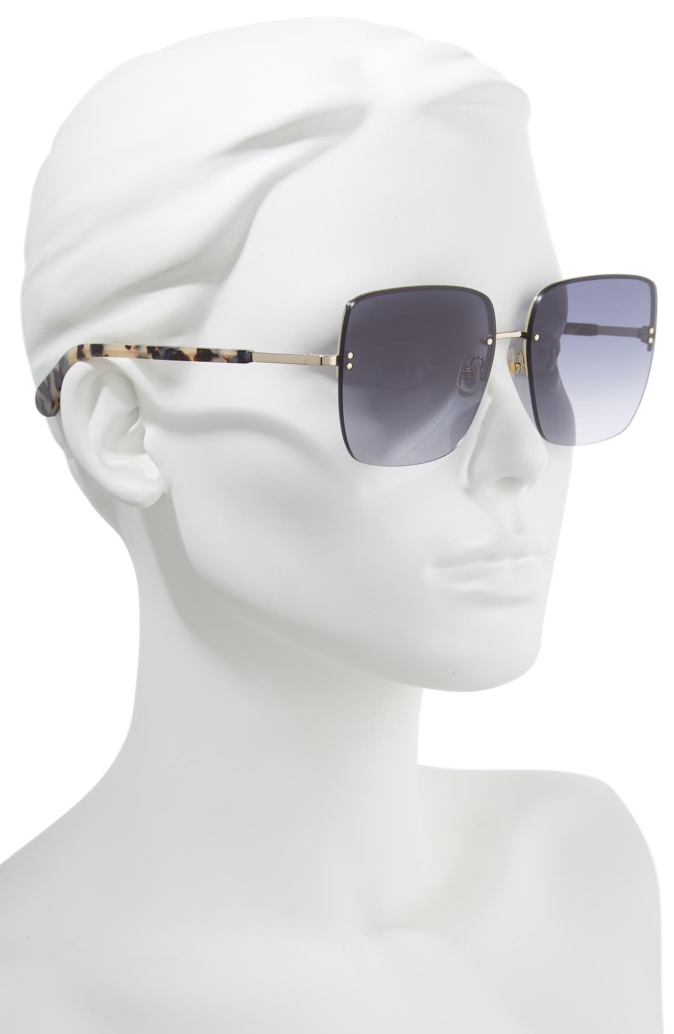 janays 61mm rimless square sunglasses,                             Alternate thumbnail 2, color,                             WHITE HAVANA