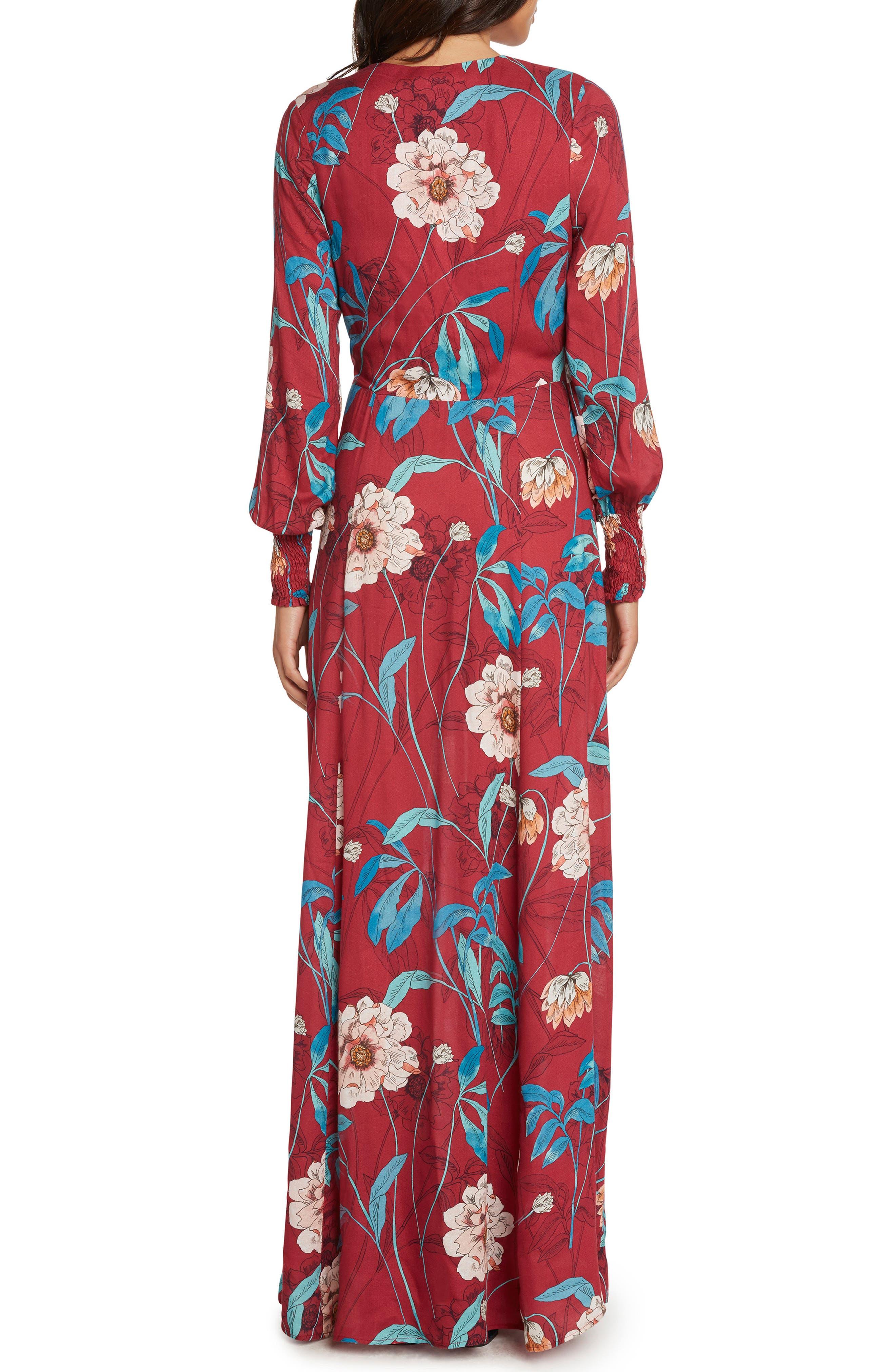 Print Maxi Dress,                             Alternate thumbnail 3, color,                             MAGENTA