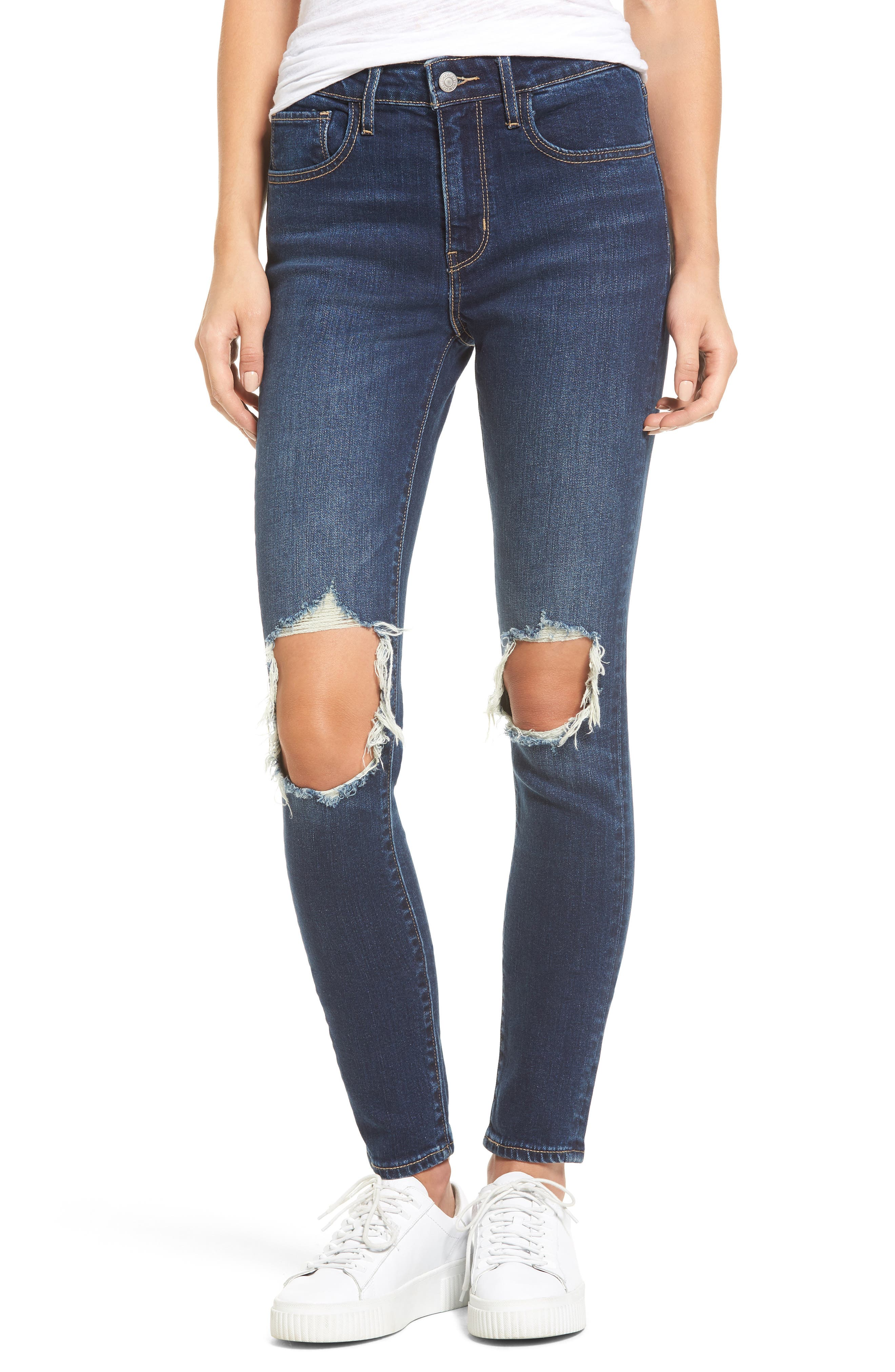 721 Ripped High Waist Skinny Jeans,                             Main thumbnail 1, color,                             420