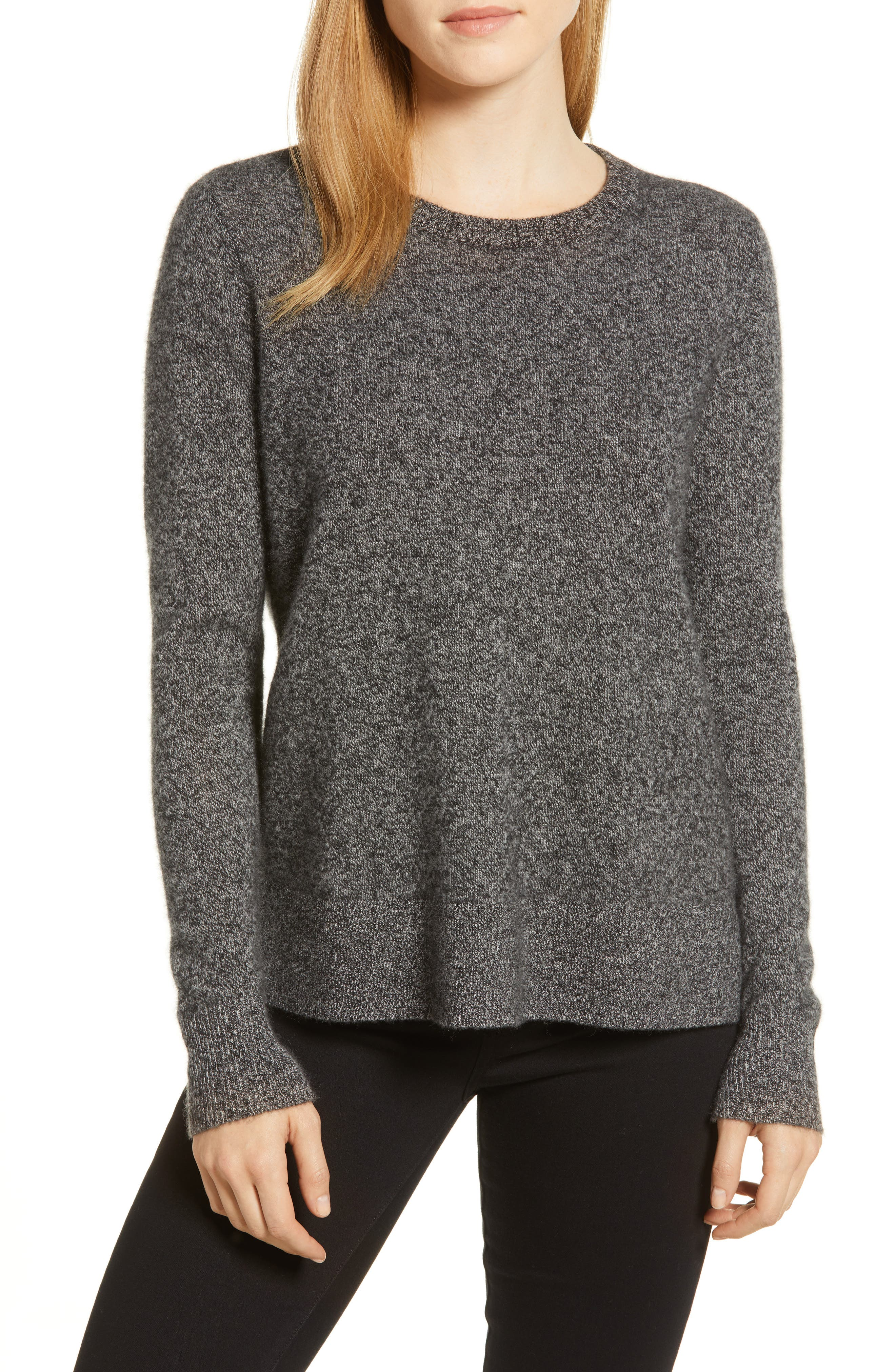 Crewneck Cashmere Sweater,                             Main thumbnail 1, color,                             BLACK- GREY MARL