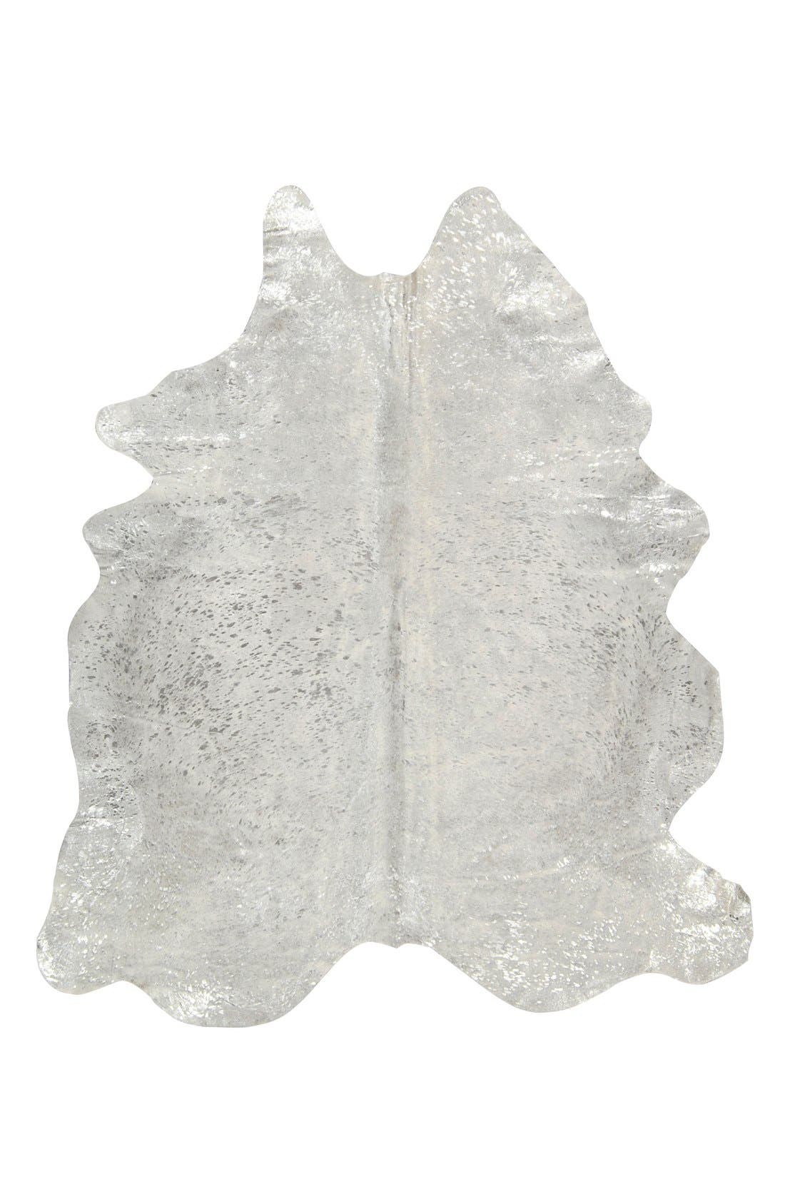 'Metallic Splash' Genuine Cowhide Rug,                             Main thumbnail 1, color,                             SILVER