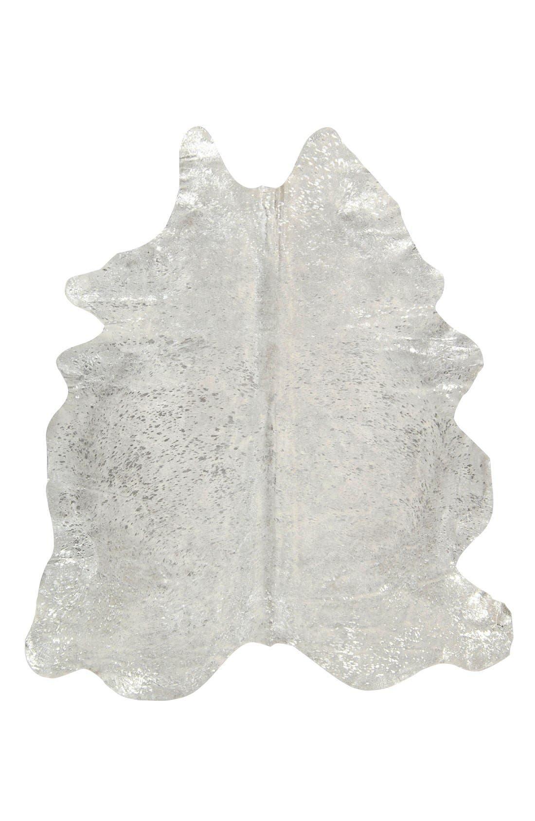 'Metallic Splash' Genuine Cowhide Rug,                         Main,                         color, SILVER