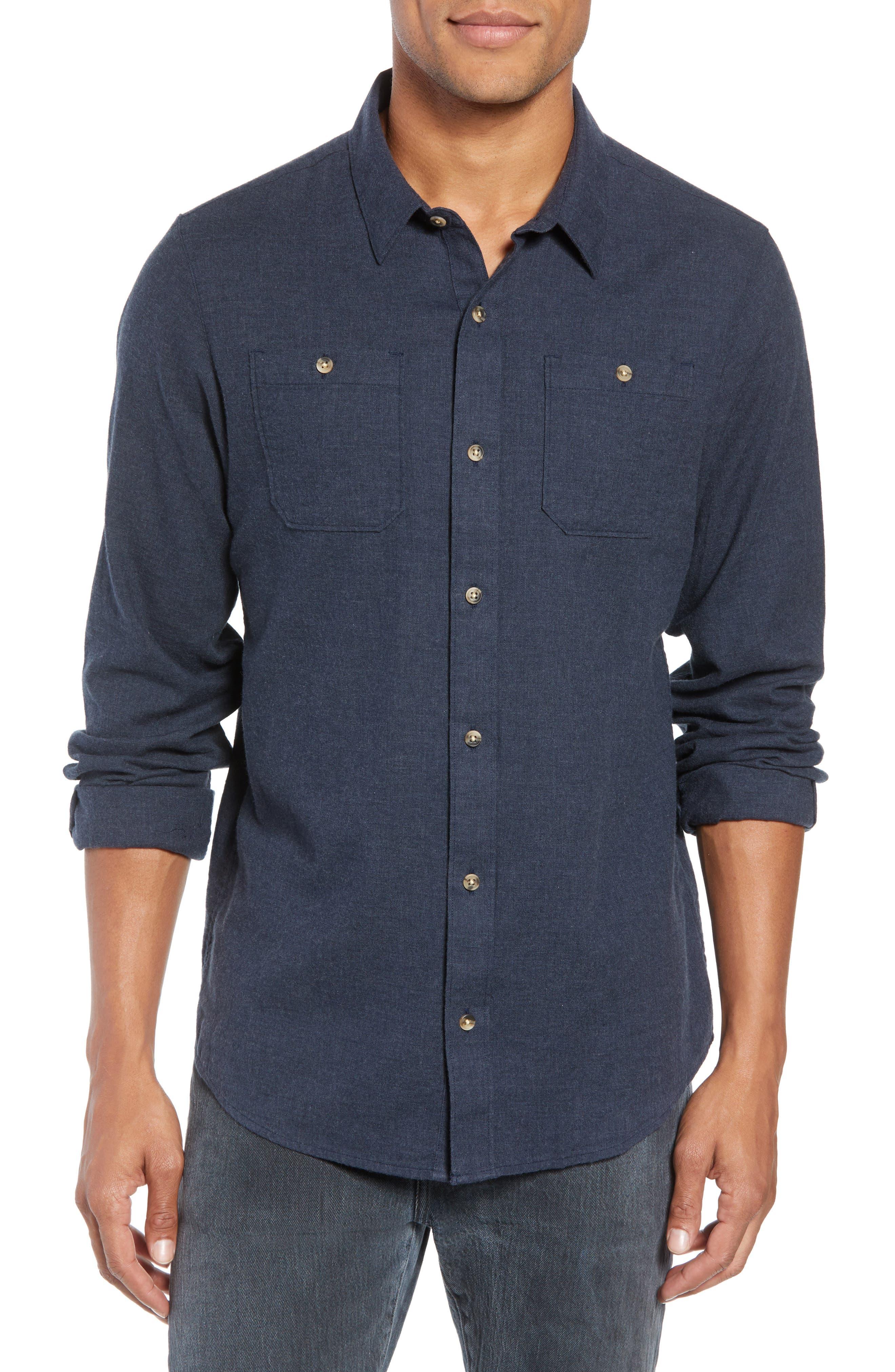 Travis Mathew Hefe Regular Fit Flannel Sport Shirt, Blue