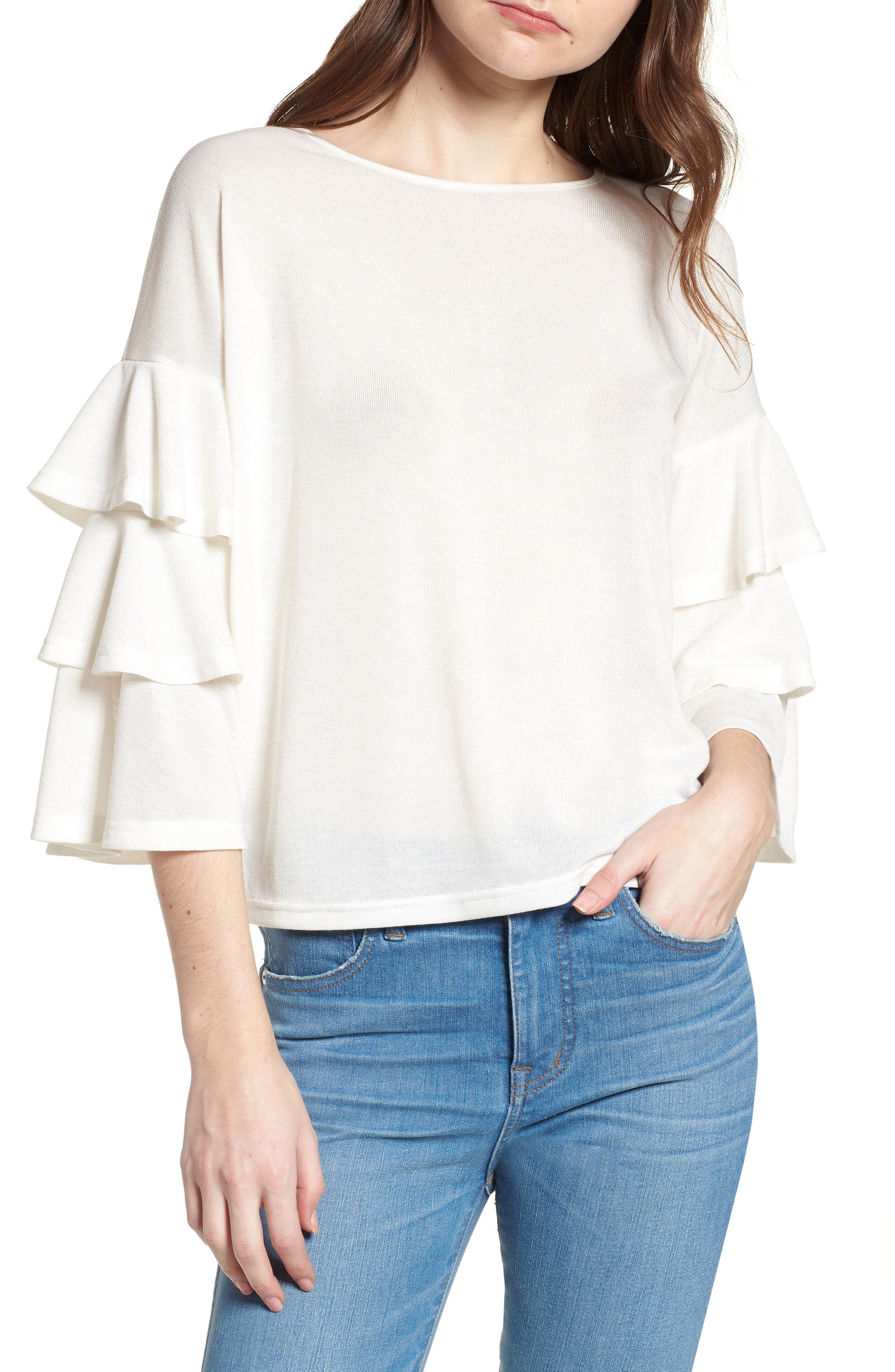 Bishop + Young Katie Tiered Ruffle Sleeve Top,                             Main thumbnail 1, color,                             WHITE