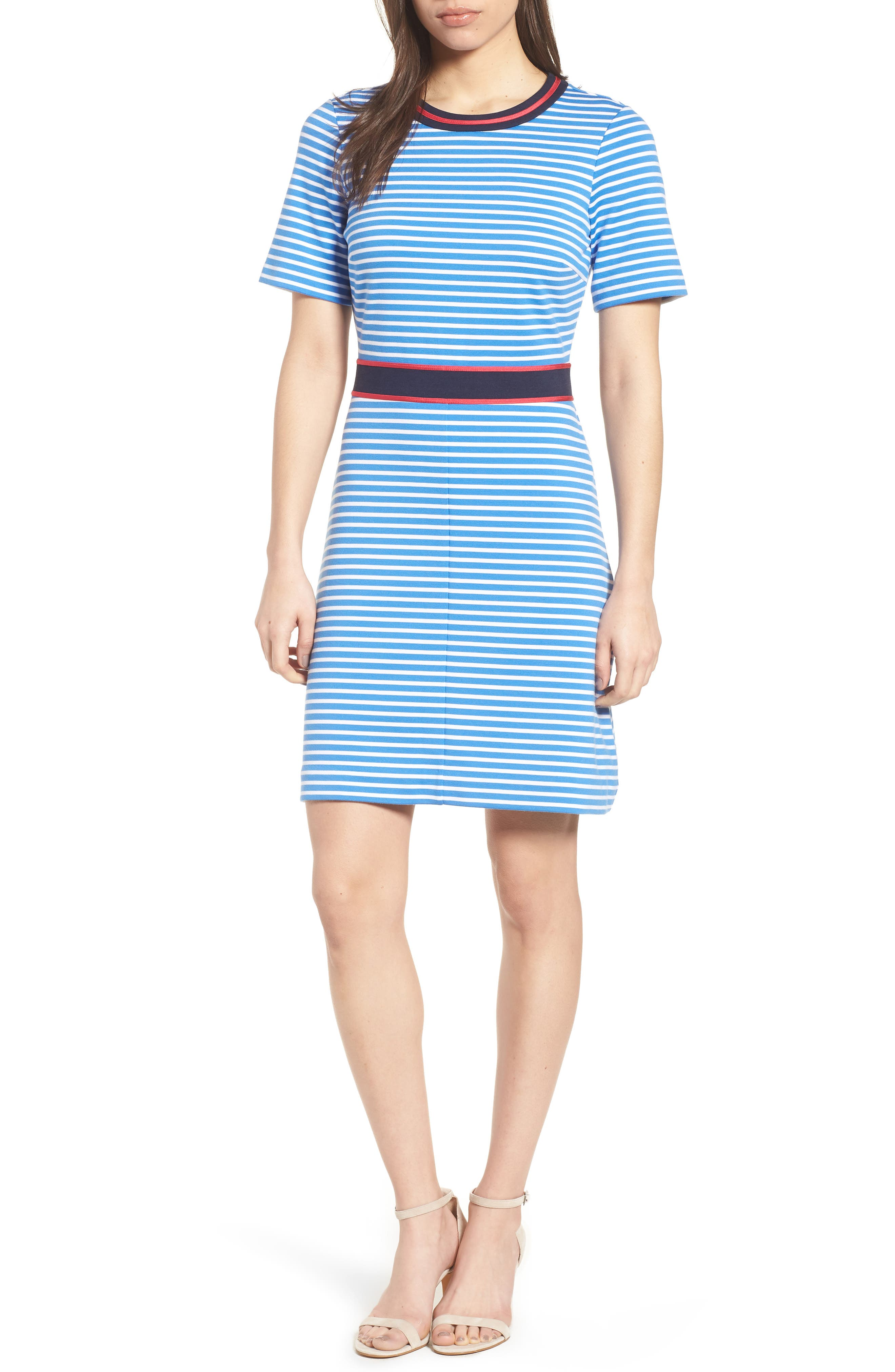 Stripe Persley Ponte Fit & Flare Dress,                             Main thumbnail 1, color,                             452