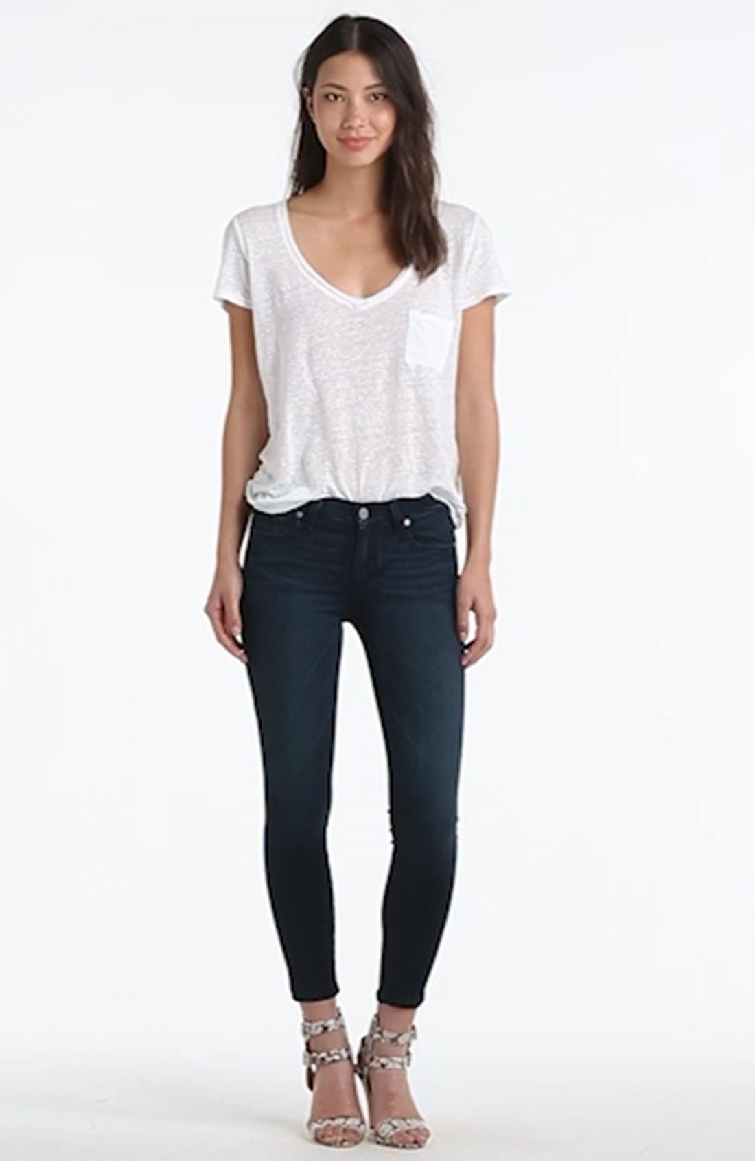 Transcend - Verdugo Crop Skinny Jeans,                             Alternate thumbnail 4, color,                             MIDLAKE