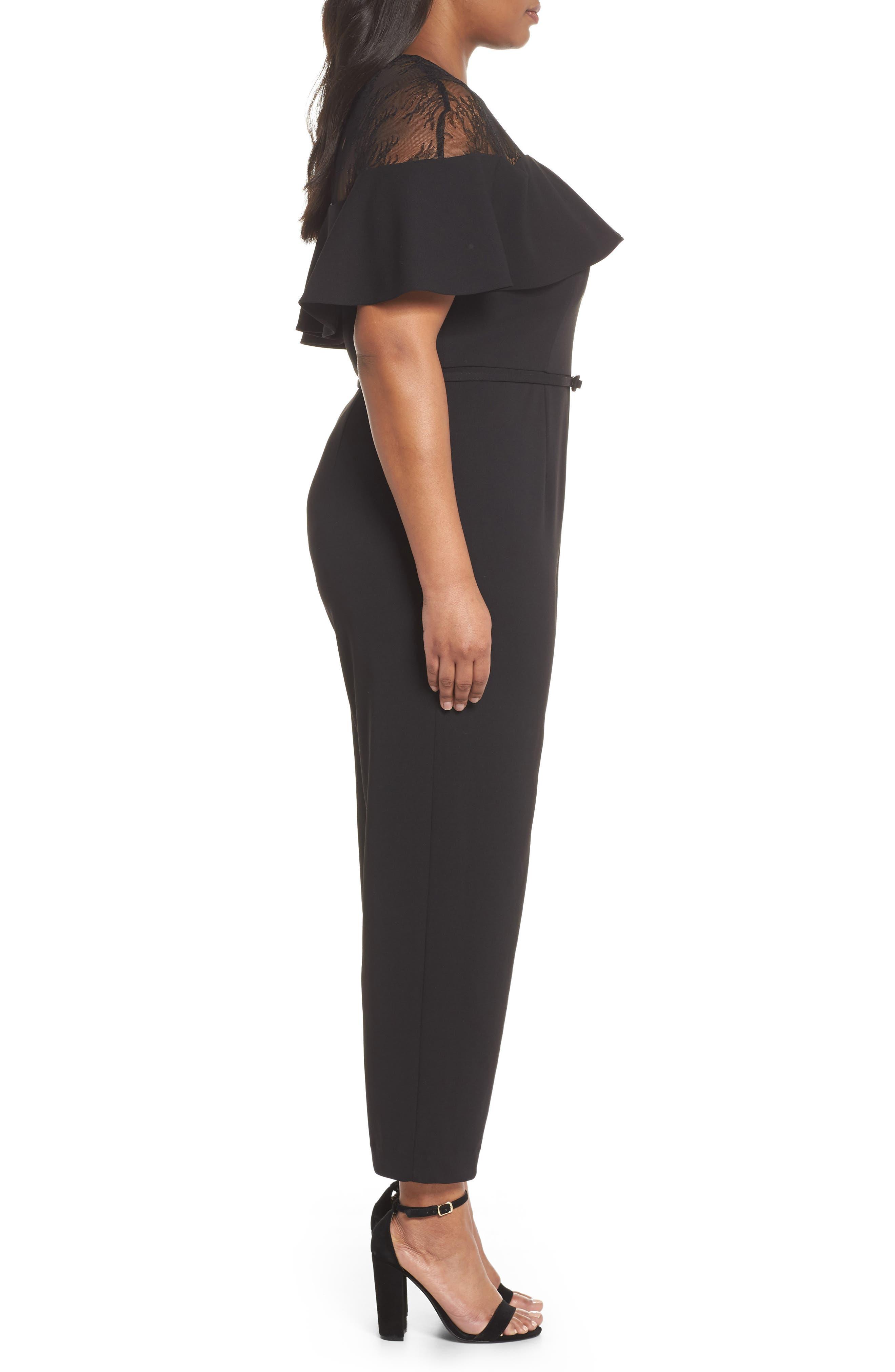 Lace Illusion Ruffle Jumpsuit,                             Alternate thumbnail 3, color,                             BLACK