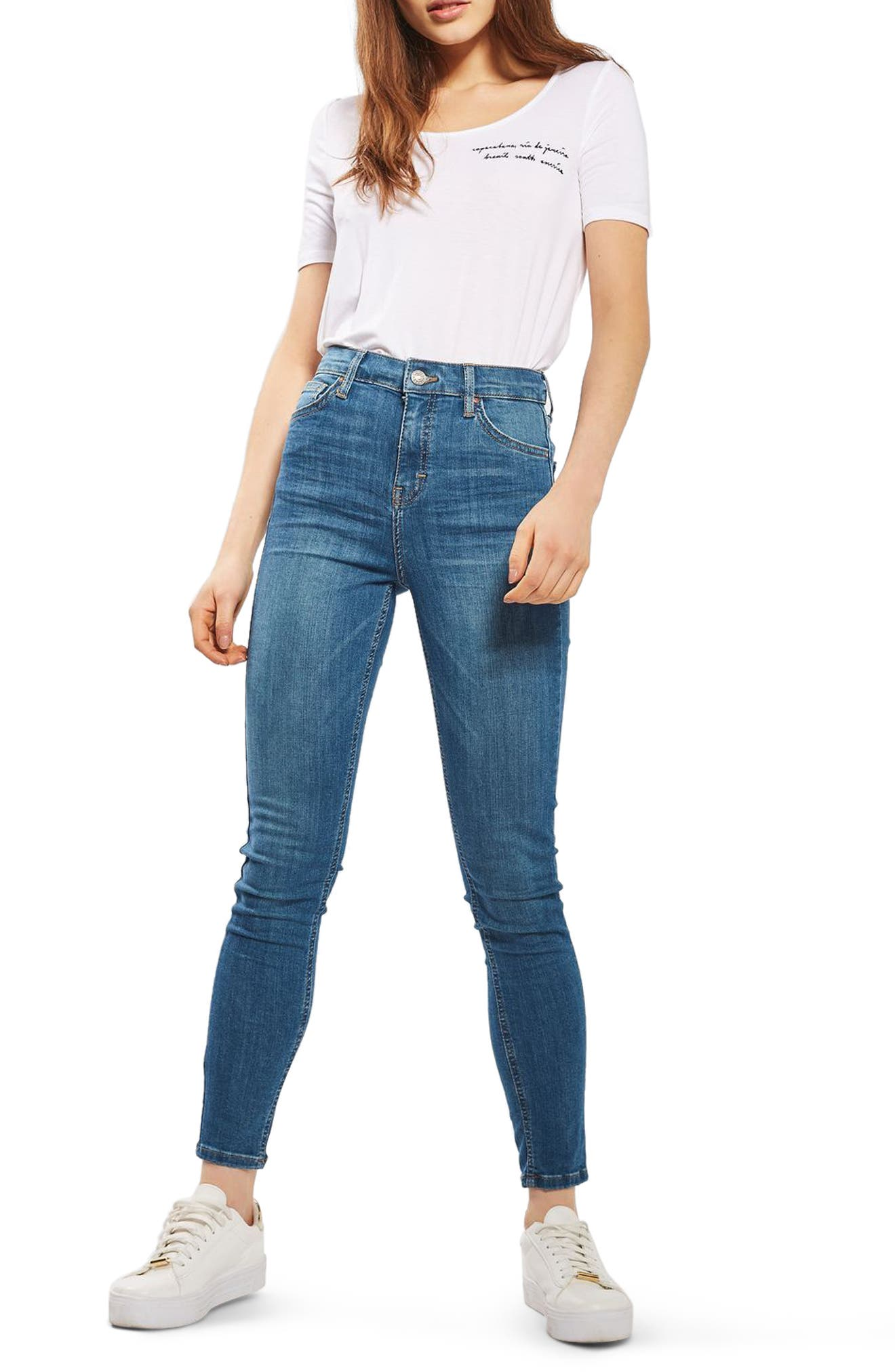 'Jamie' High Waist Ankle Skinny Jeans,                             Main thumbnail 1, color,                             400