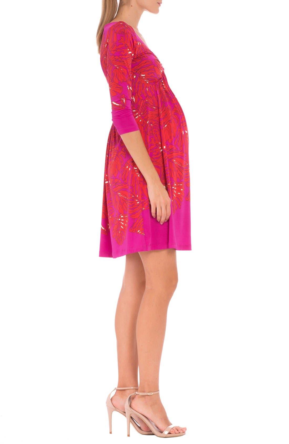 'Scarlet' Print Maternity Dress,                             Alternate thumbnail 2, color,                             RED