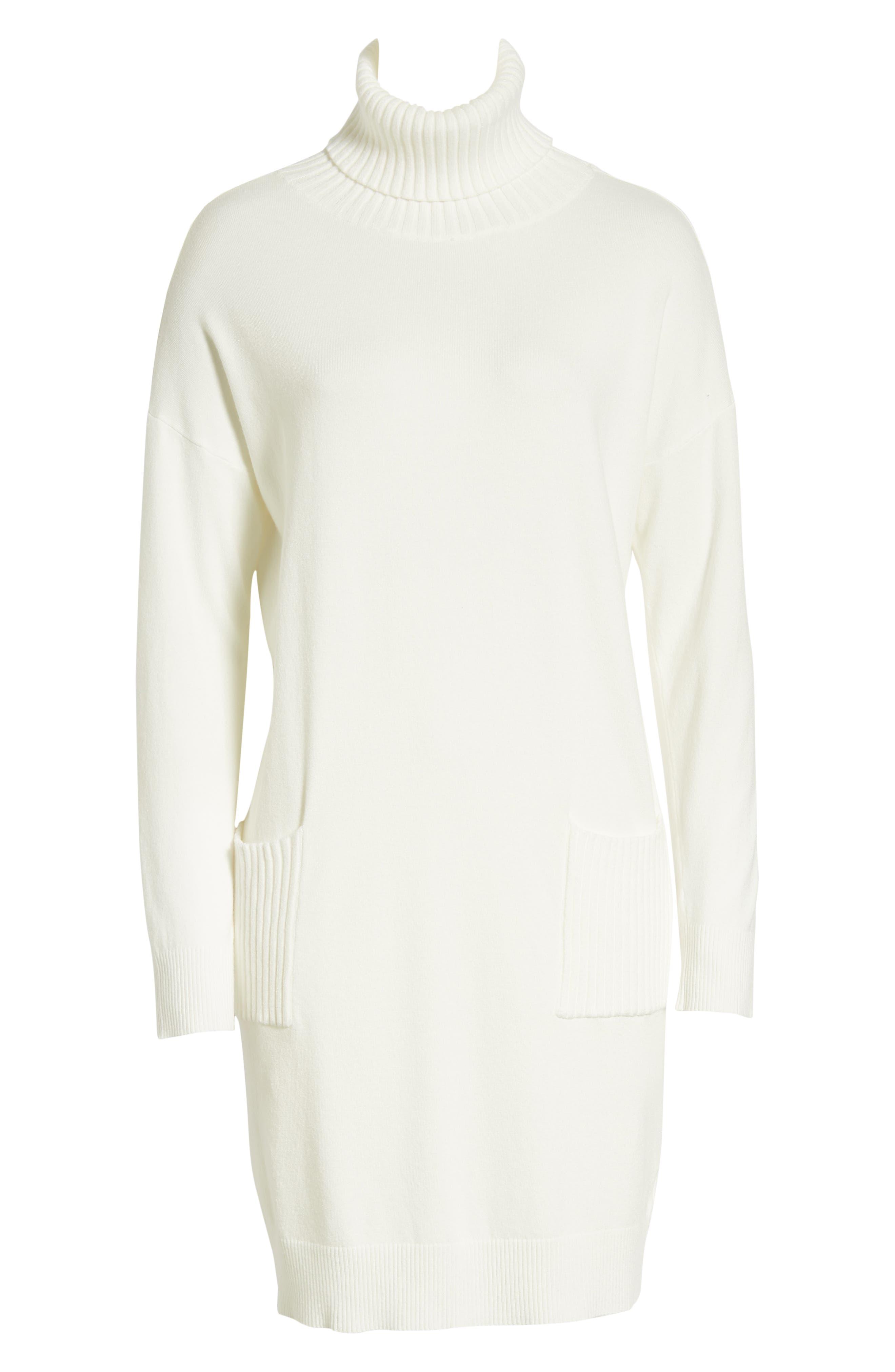 Turtleneck Sweater Dress,                             Alternate thumbnail 7, color,                             IVORY