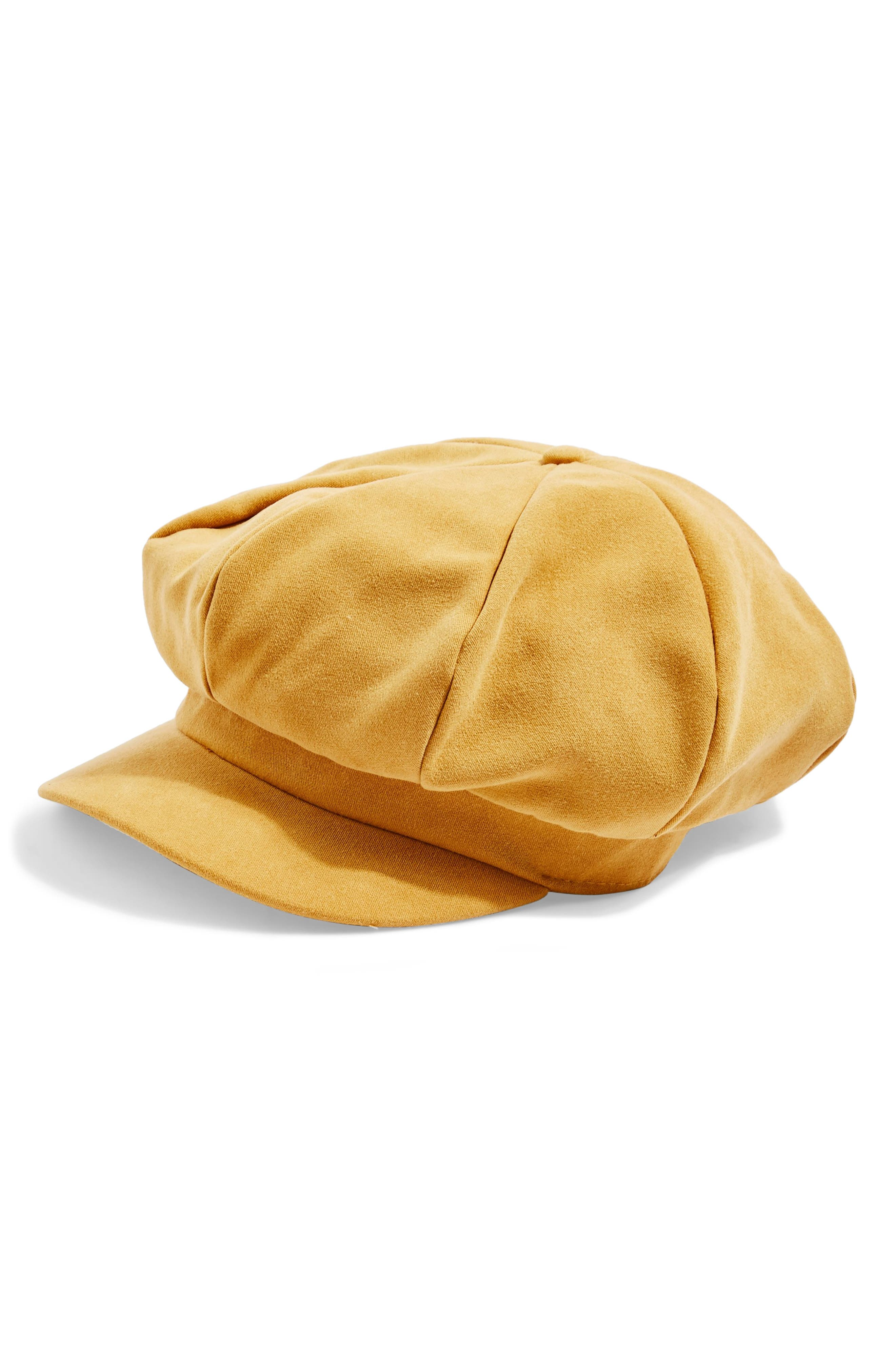 Slouchy Baker Boy Hat,                         Main,                         color, MUSTARD