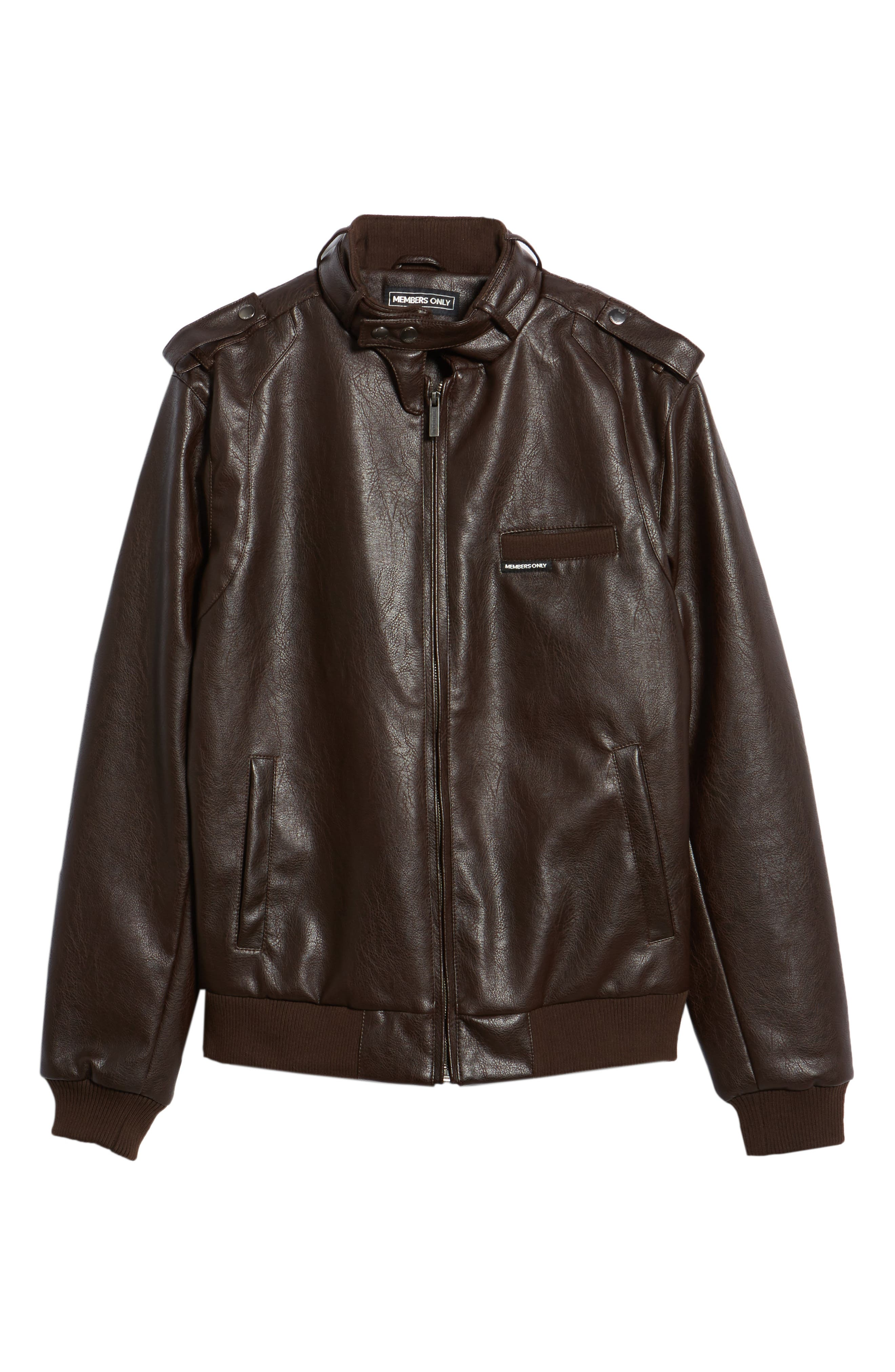 Vintage Faux Leather Racer Jacket,                             Alternate thumbnail 5, color,                             DISTRESSED BROWN
