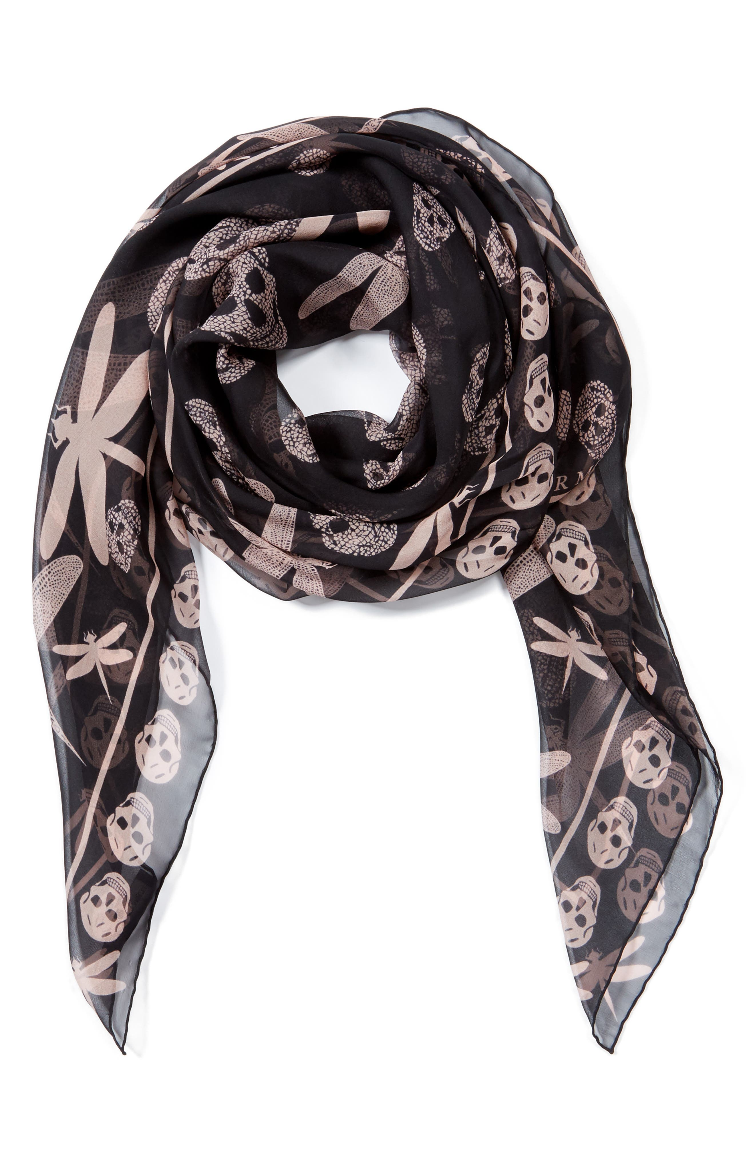 Graphic Dragonfly Silk Scarf,                             Alternate thumbnail 3, color,                             001