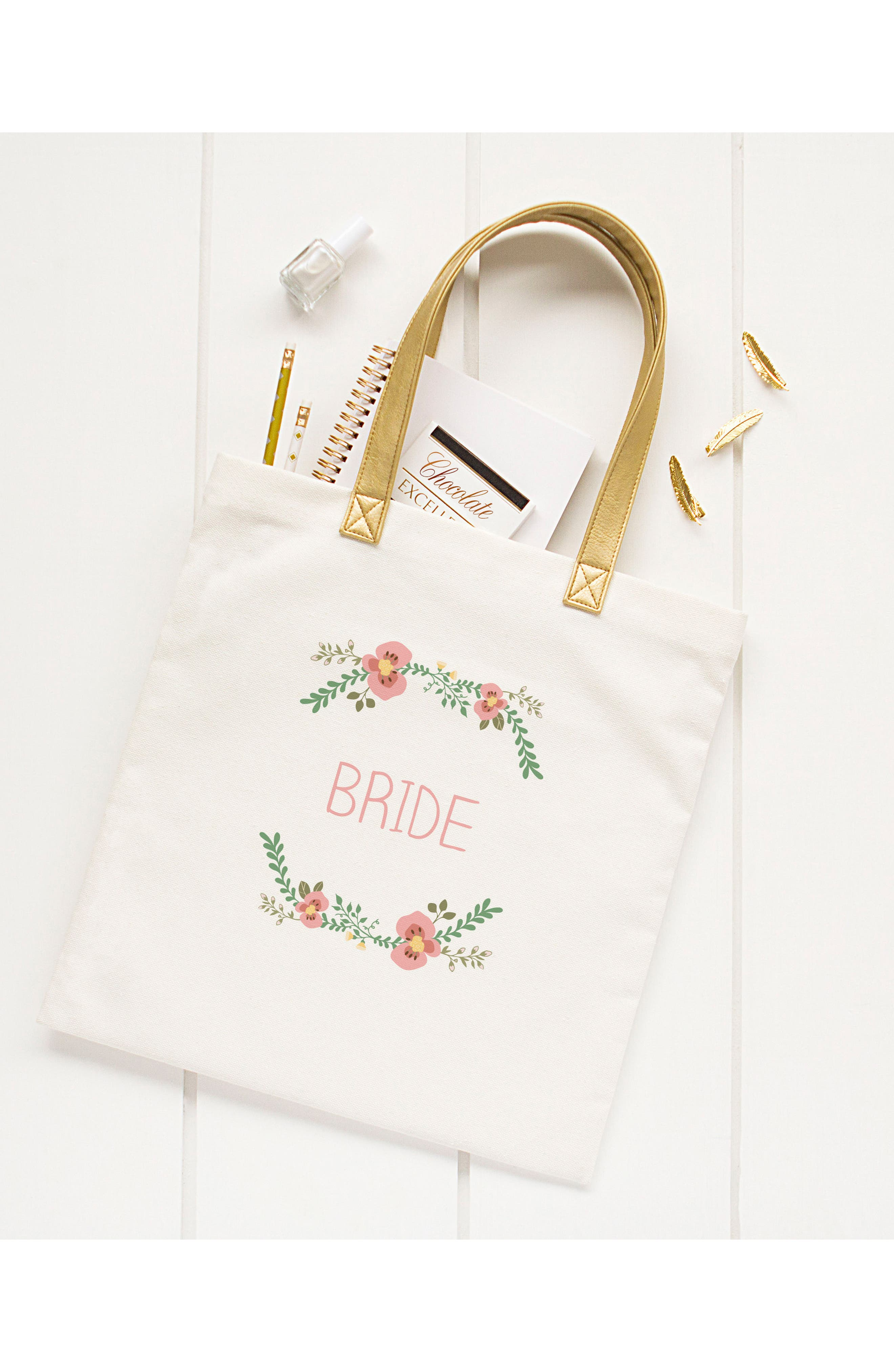 Bridesmaid Canvas Tote,                             Alternate thumbnail 5, color,                             100