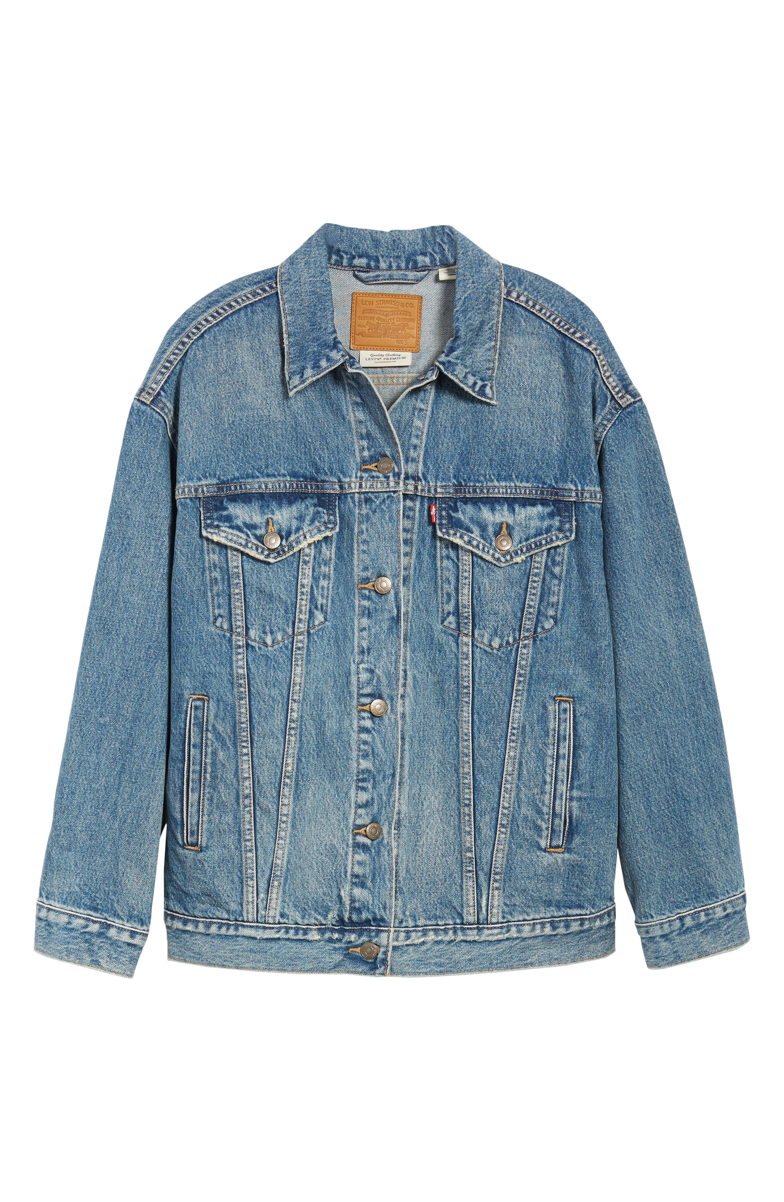 Baggy Trucker Denim Jacket,                             Alternate thumbnail 6, color,                             BUST A MOVE