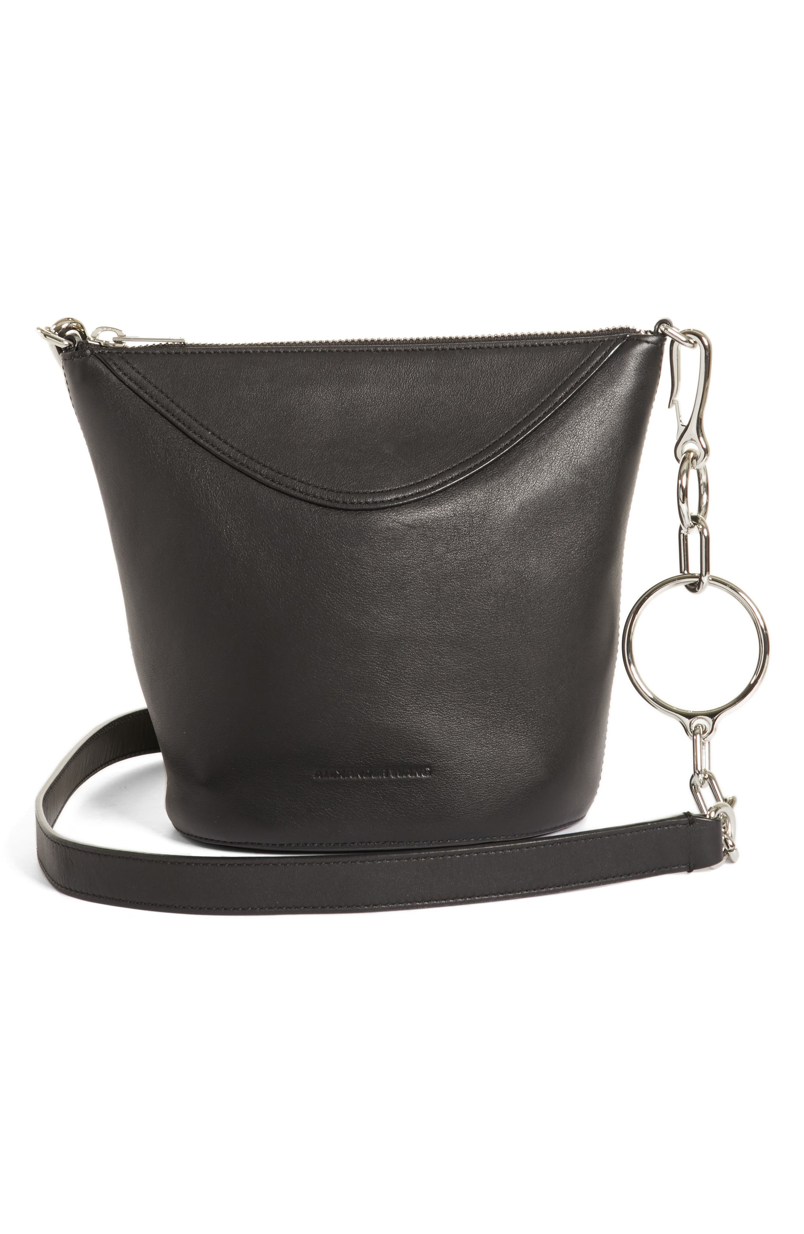 Ace Leather Bucket Bag,                             Main thumbnail 1, color,                             BLACK