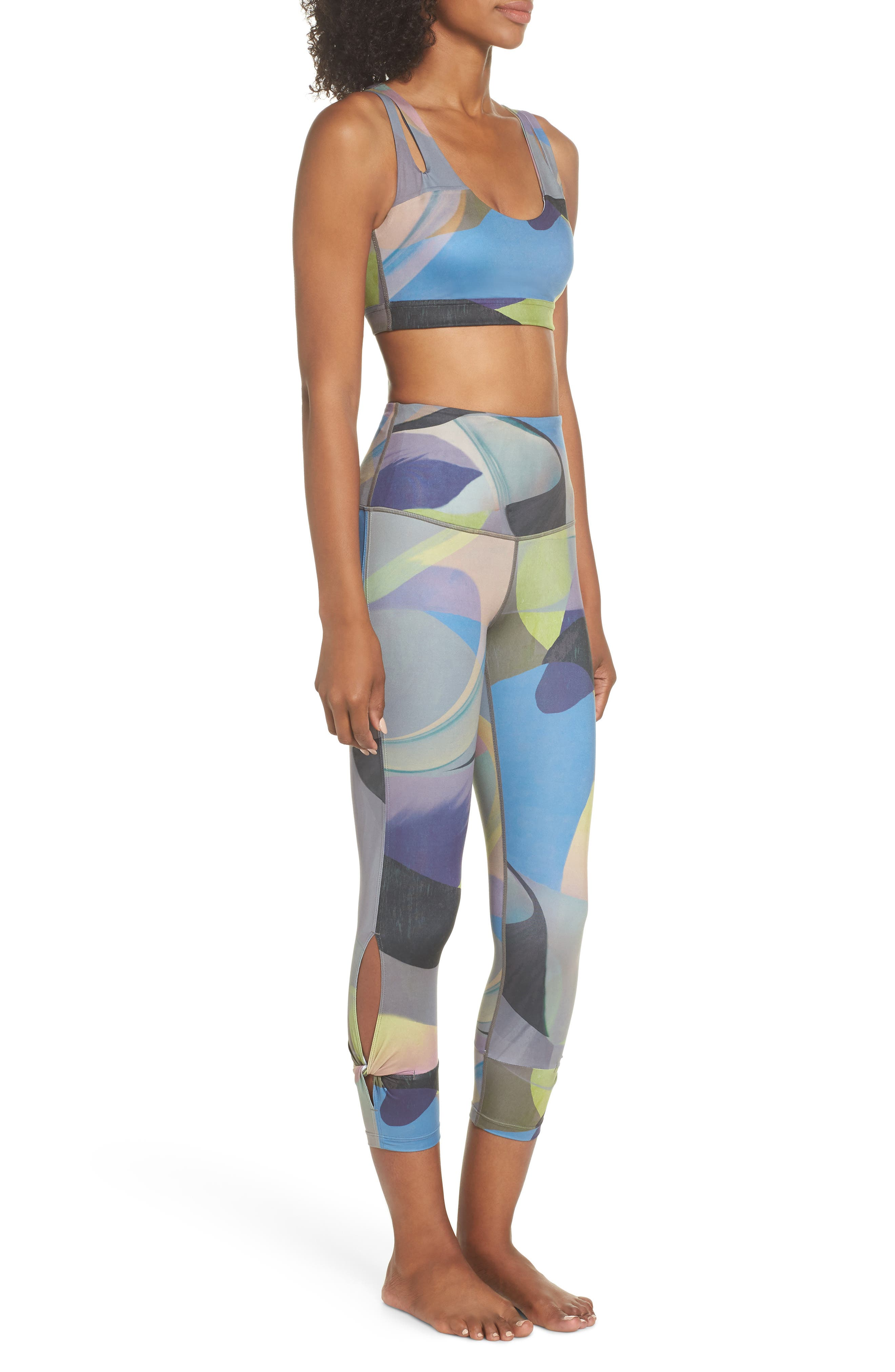 Katya High Waist Abstract Print Recycled Crop Leggings,                             Alternate thumbnail 10, color,                             GREY URBAN ABSTRACT BOTANICAL
