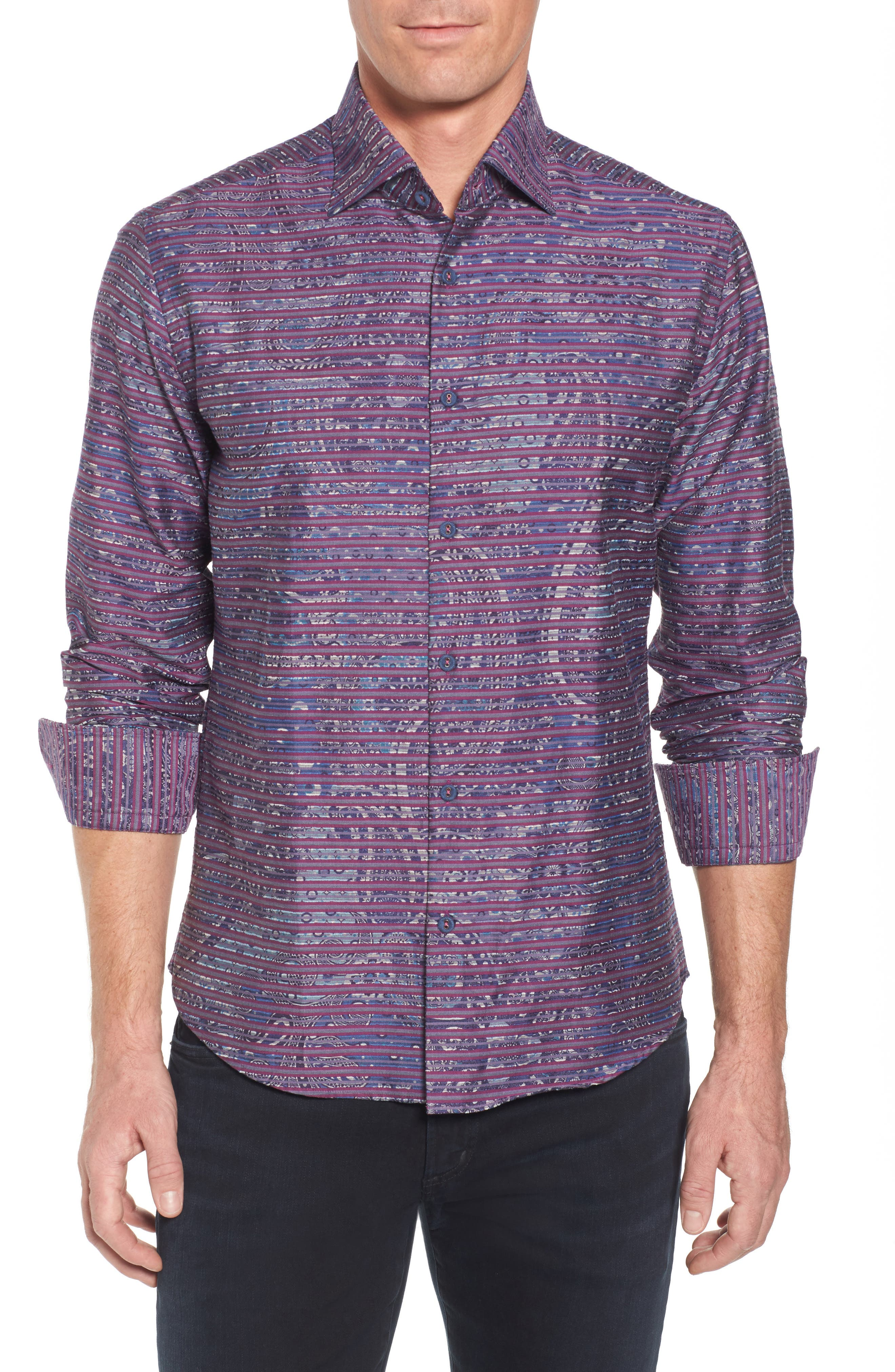 Regular Fit Stripe Paisley Sport Shirt,                             Main thumbnail 1, color,                             645