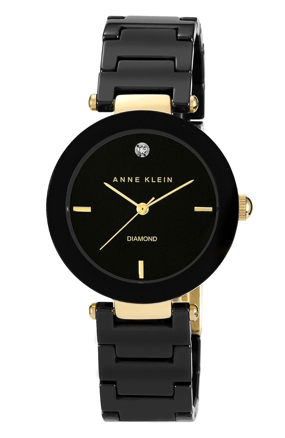 ANNE KLEIN Round Ceramic Bracelet Watch, 33mm, Main, color, 001