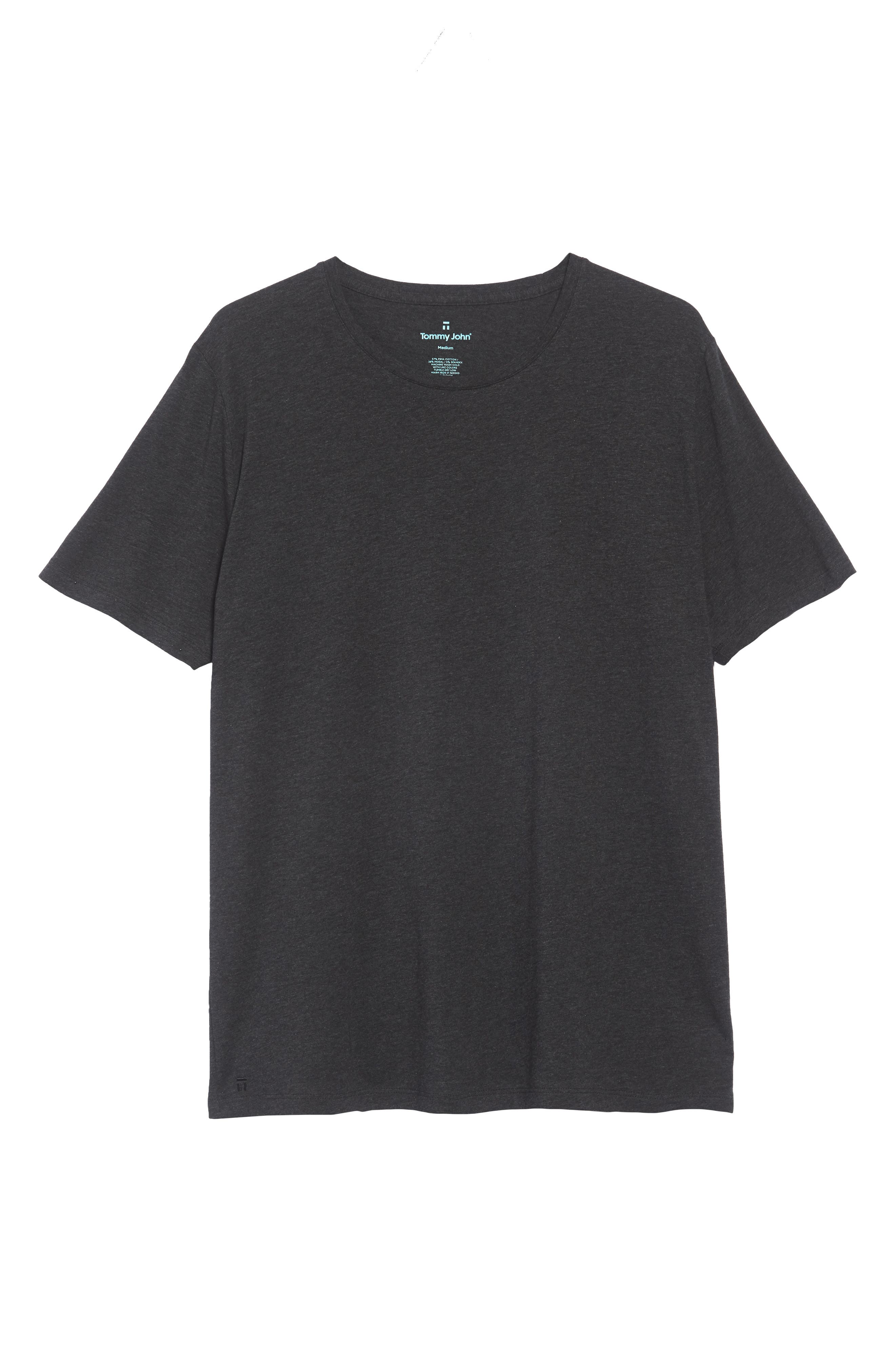 Cotton Blend Crewneck T-Shirt,                             Alternate thumbnail 6, color,                             HEATHER CHARCOAL