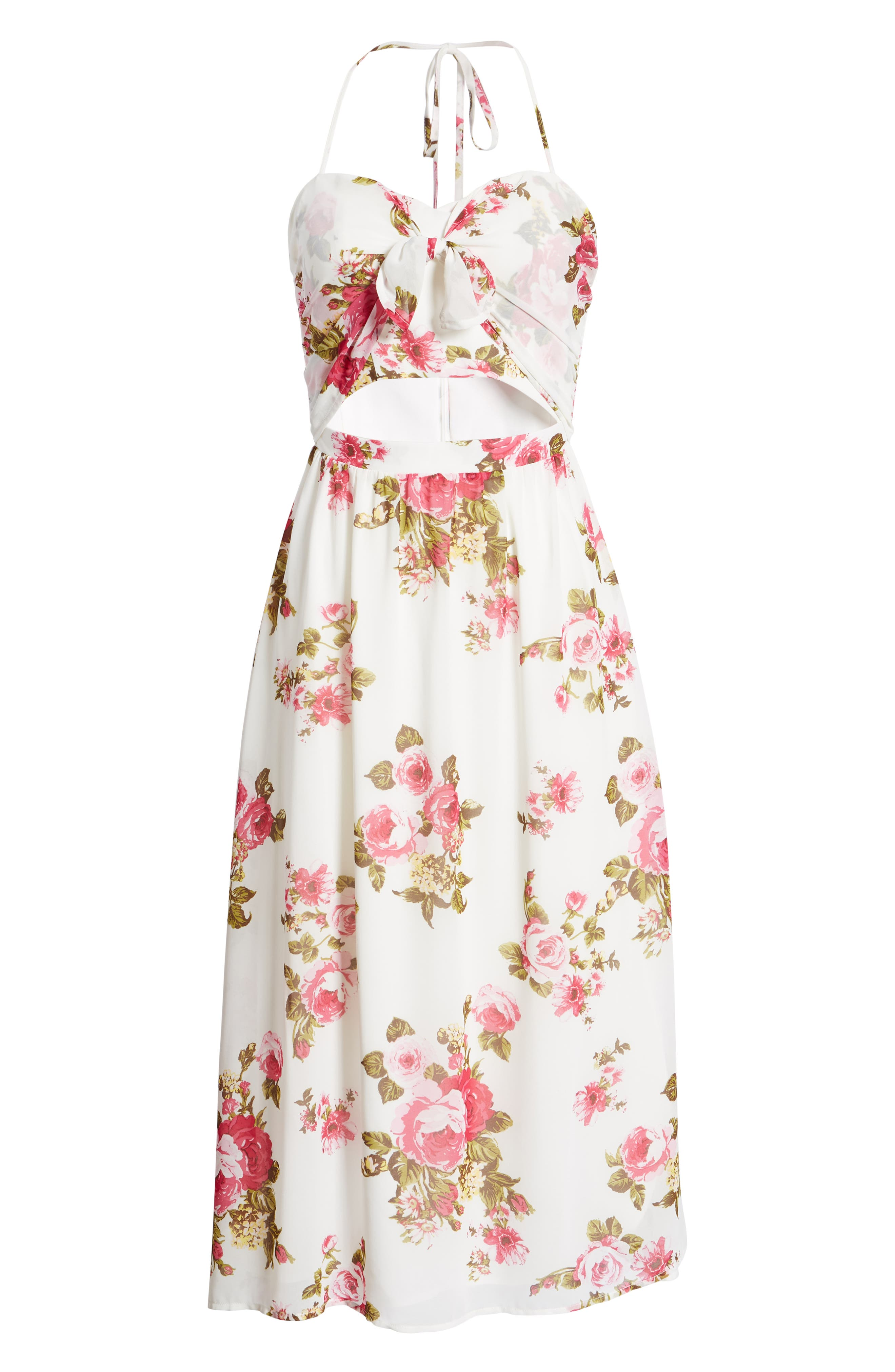 Floral Print Halter Midi Dress,                             Alternate thumbnail 8, color,                             900