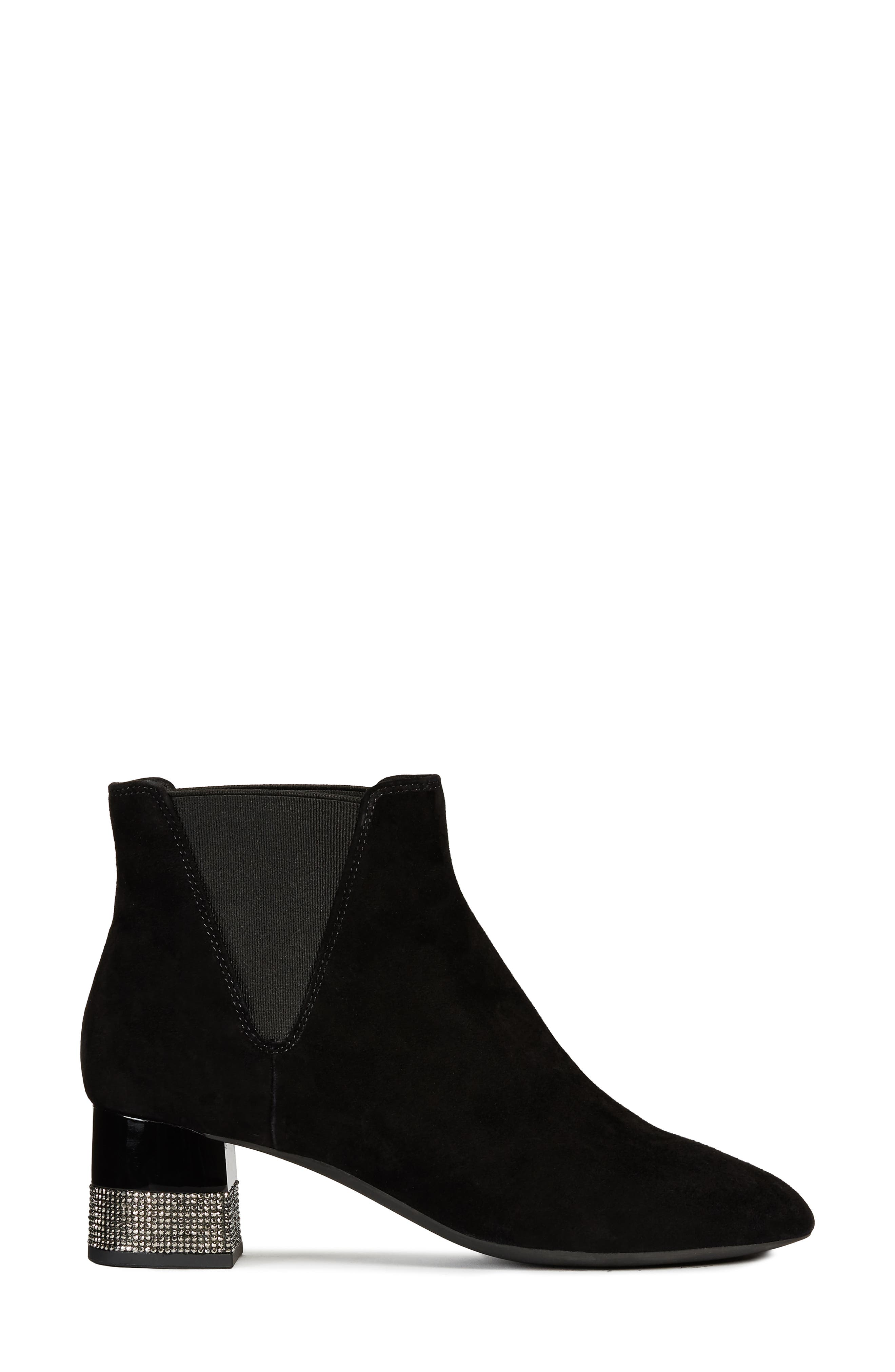 GEOX,                             Chloo Chelsea Waterproof Waterproof Bootie,                             Alternate thumbnail 3, color,                             BLACK SUEDE