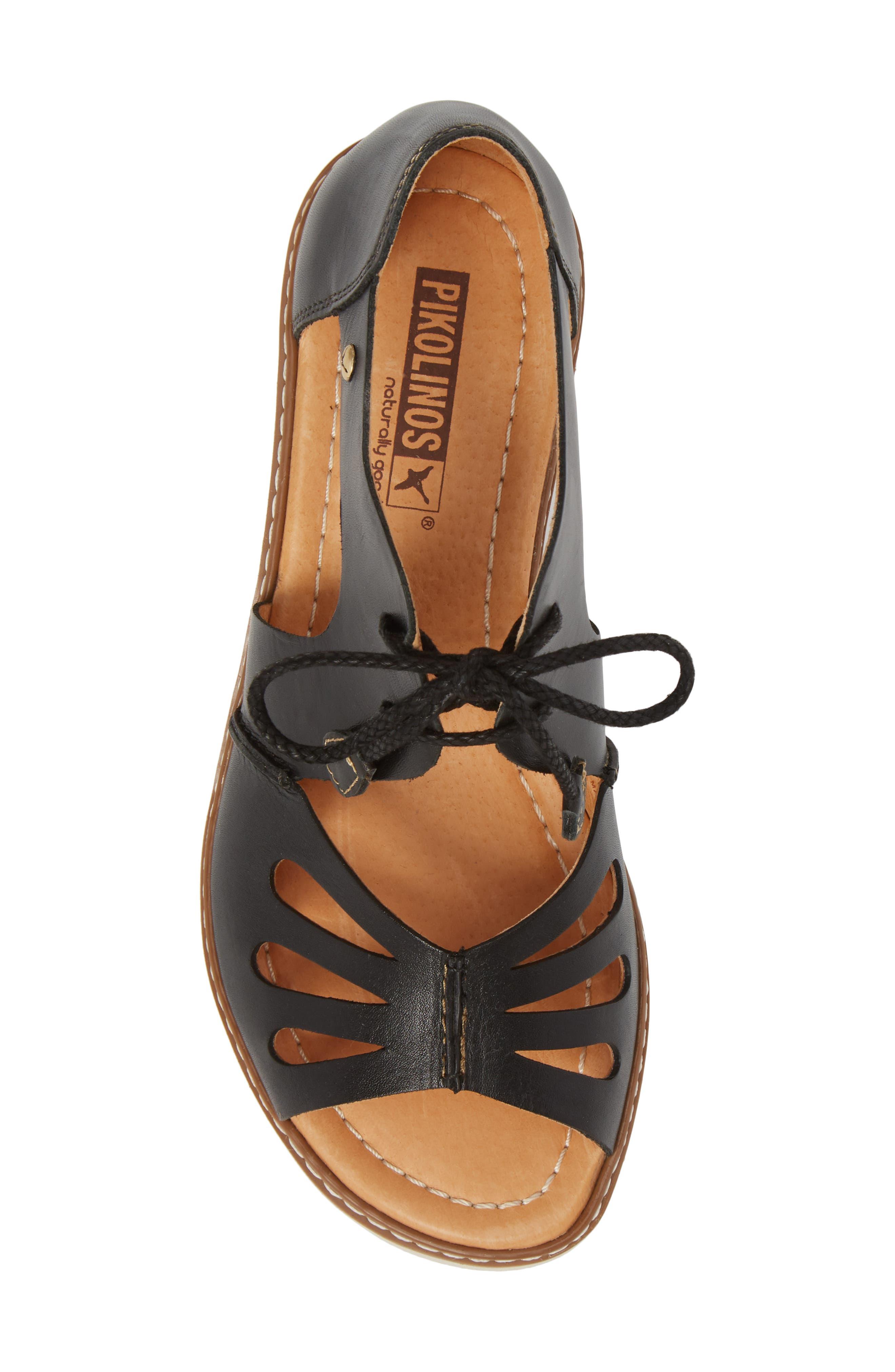 Alcudia Lace-Up Sandal,                             Alternate thumbnail 5, color,                             BLACK LEATHER