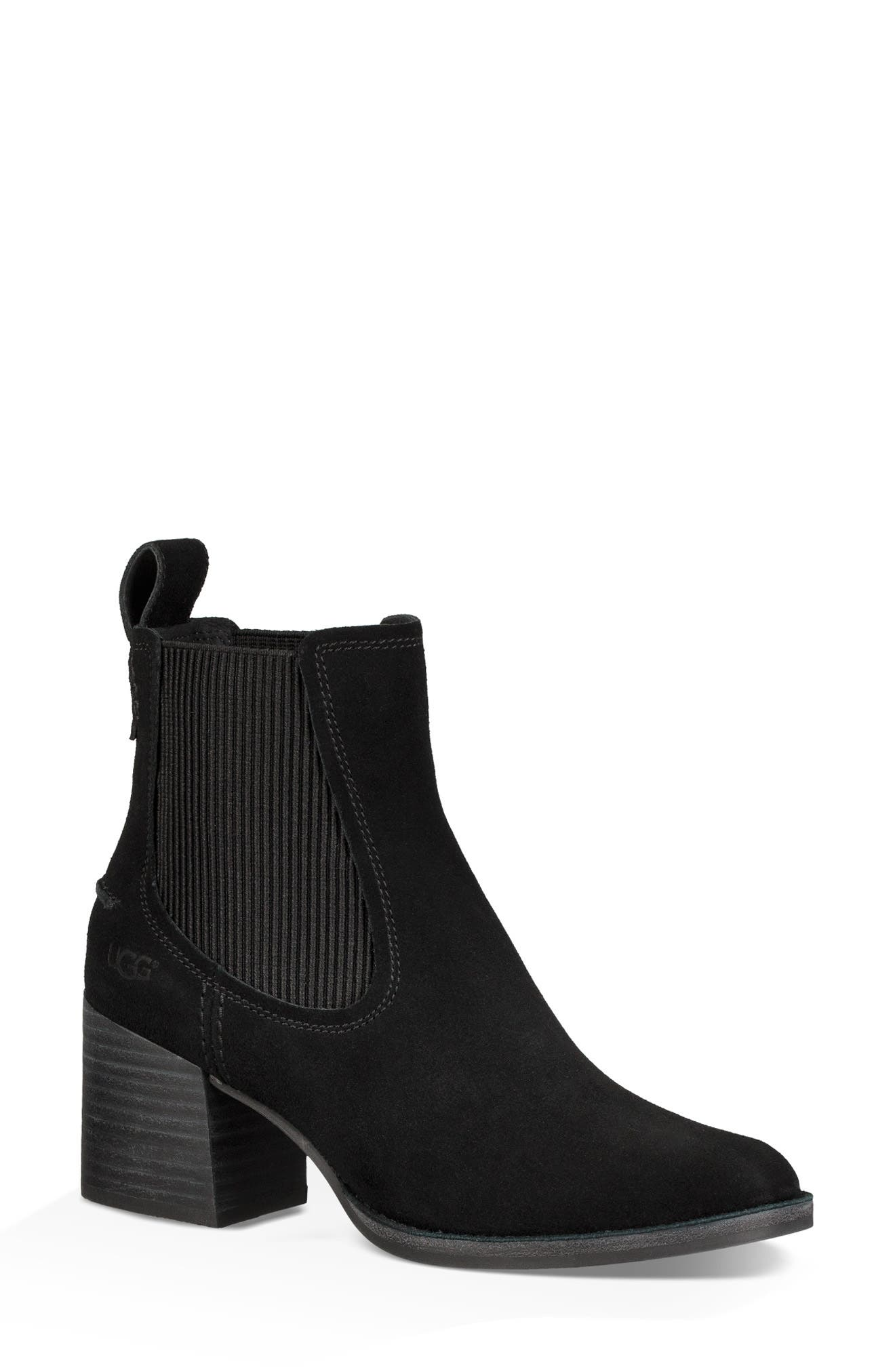 Faye Chelsea Bootie,                             Main thumbnail 1, color,                             BLACK SUEDE