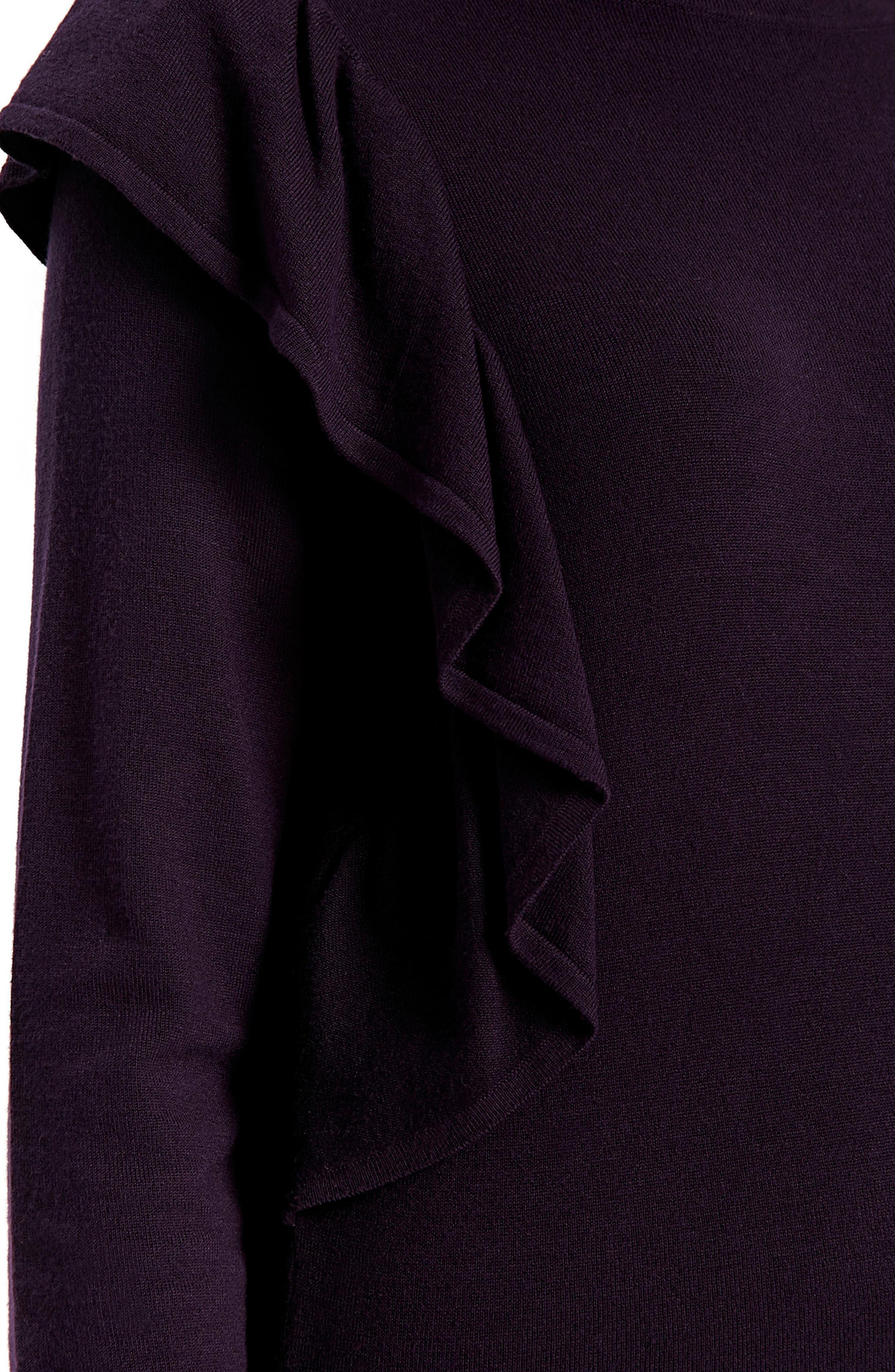 Long Sleeve Ruffle Shoulder Pullover,                             Alternate thumbnail 6, color,