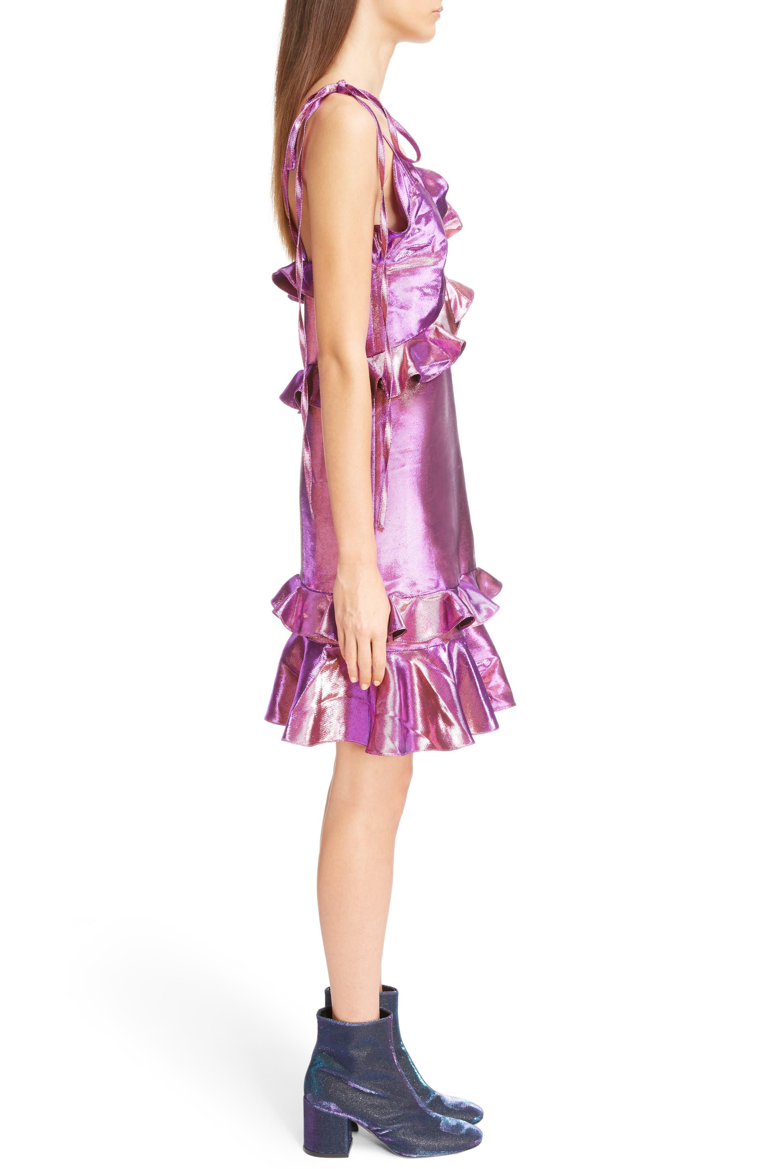 Metallic Ruffle Dress,                             Alternate thumbnail 3, color,                             513