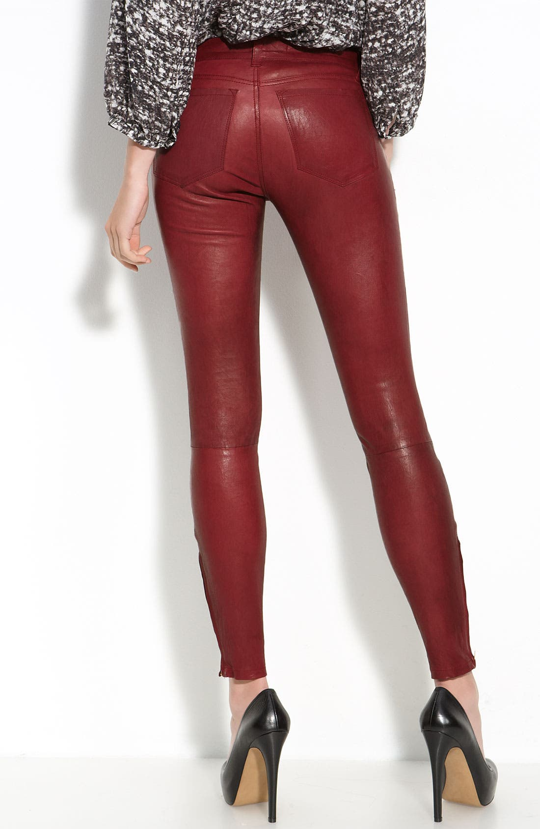 '8001' Lambskin Leather Pants,                             Alternate thumbnail 40, color,