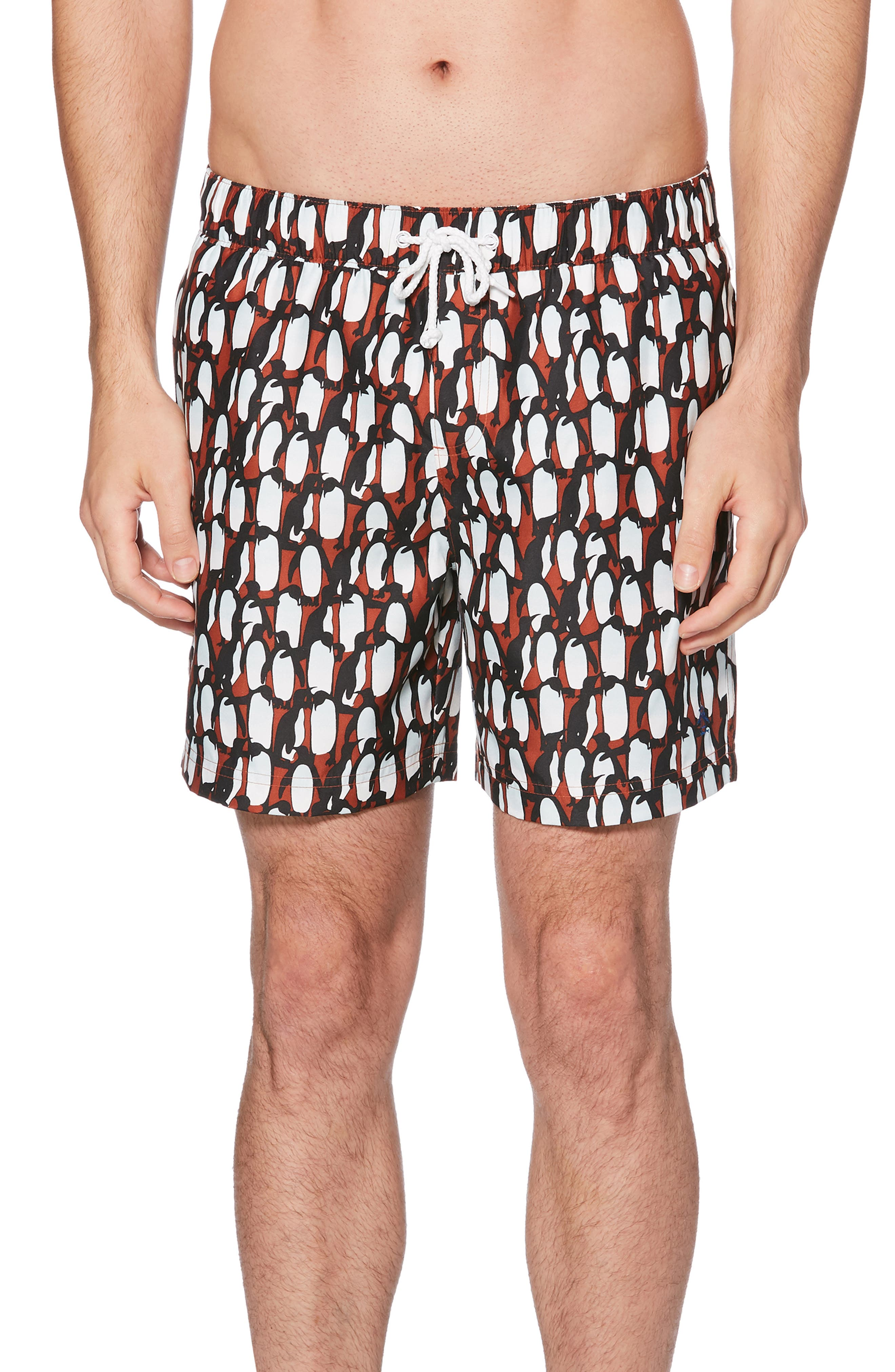 Original Penguin Print Volley Shorts, Orange