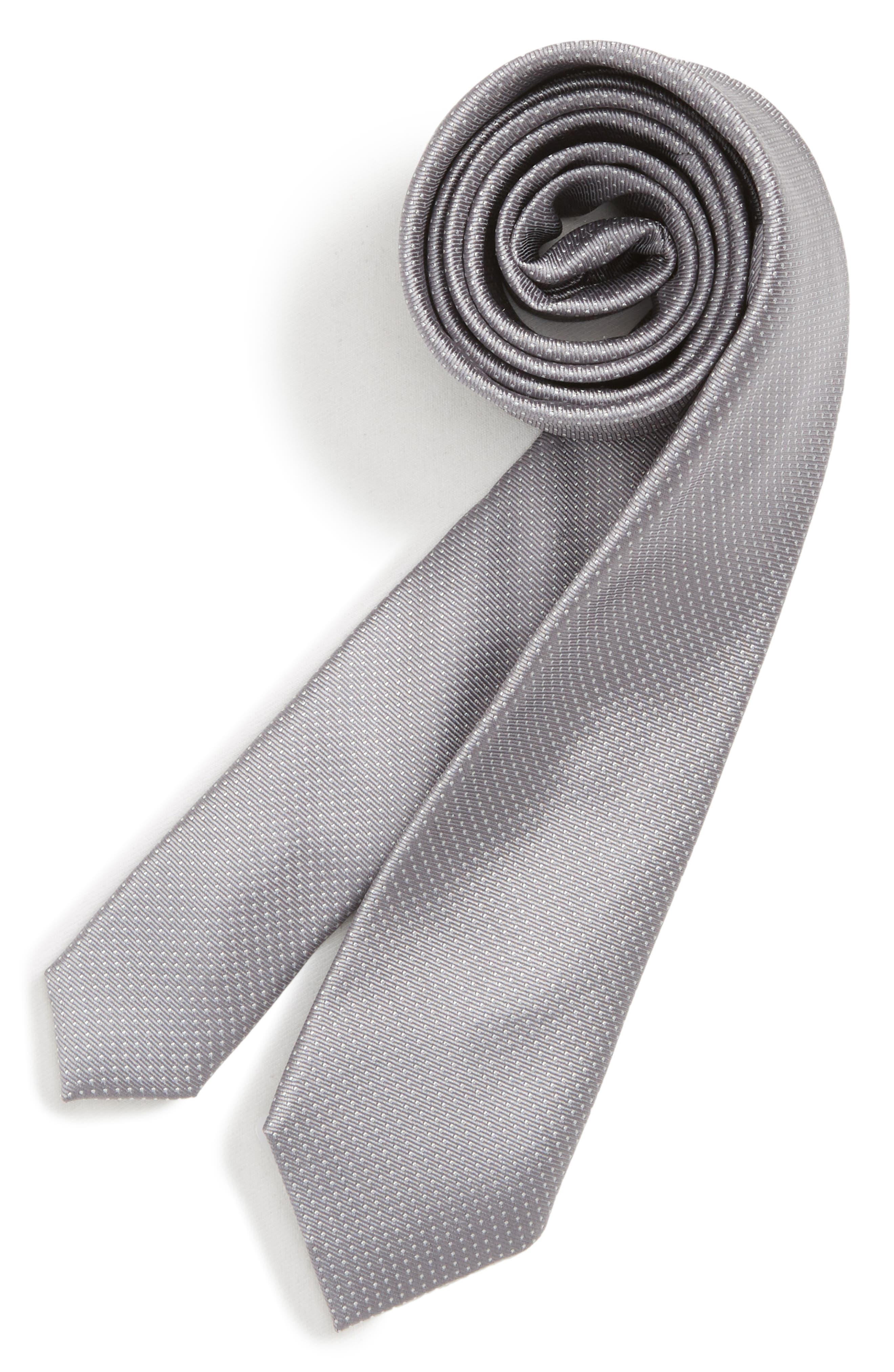 Dot Silk Tie,                             Main thumbnail 1, color,                             GREY
