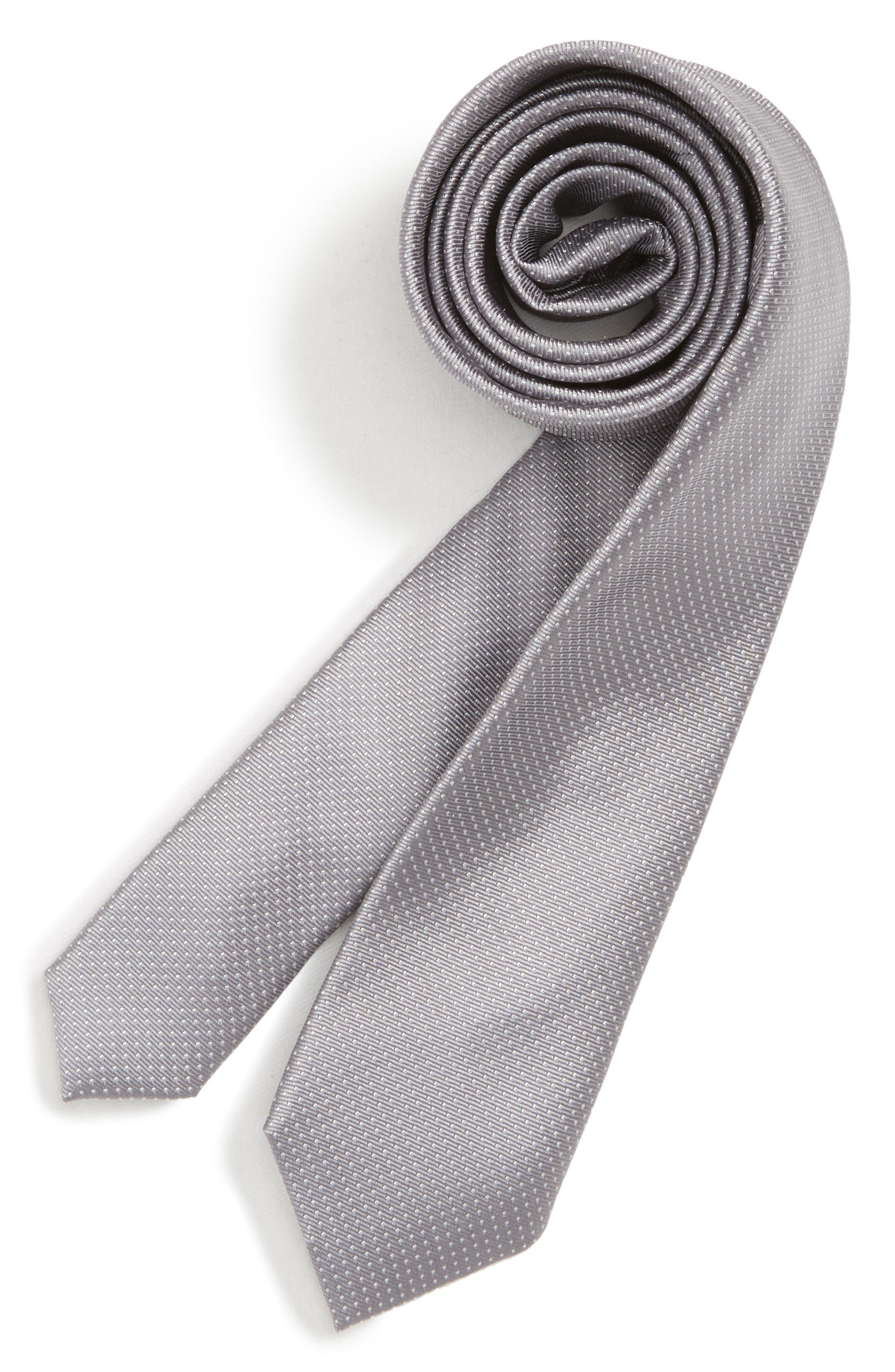 Dot Silk Tie,                         Main,                         color, GREY