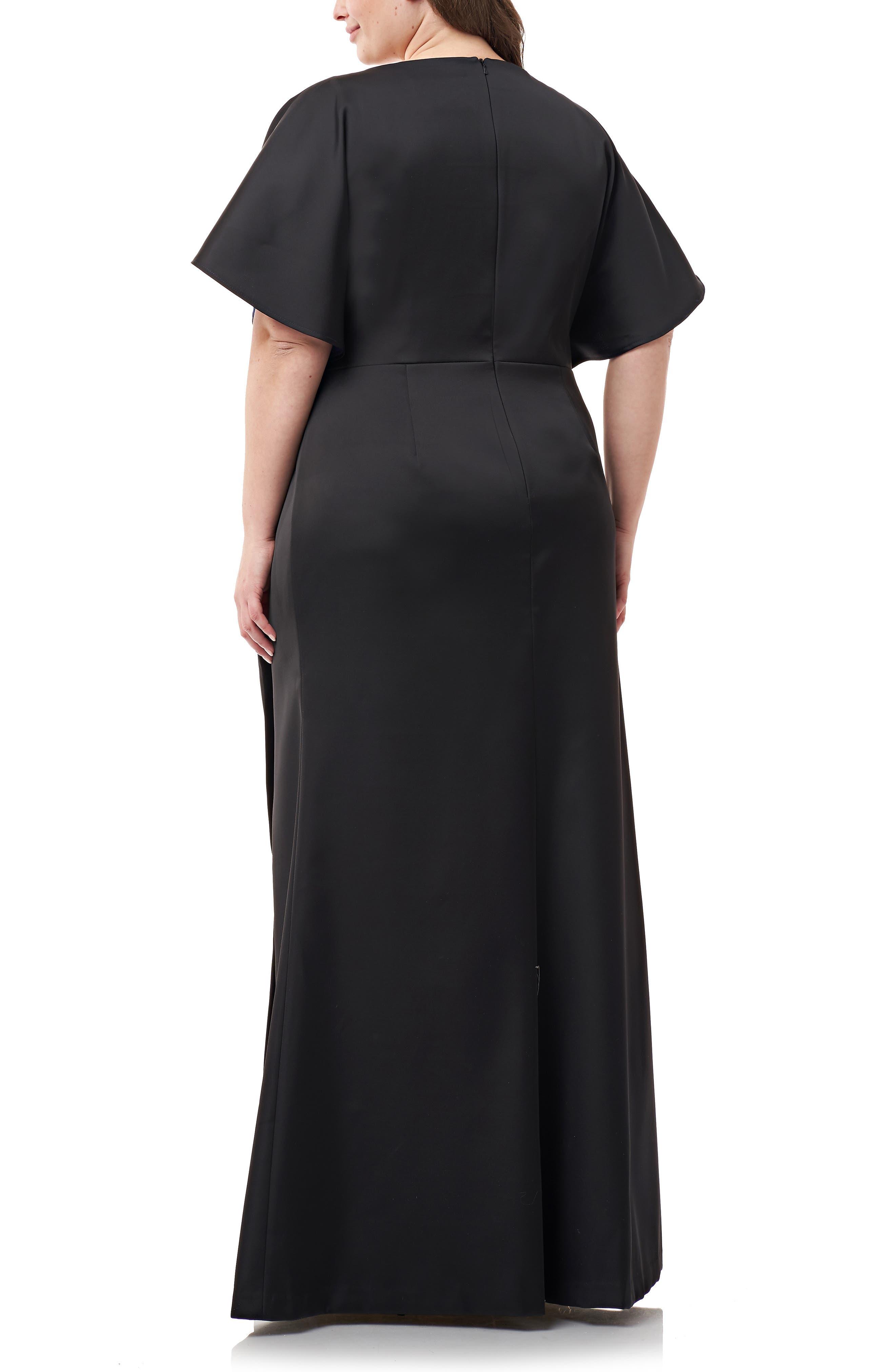 Faux Wrap Bonded Satin Gown,                             Alternate thumbnail 2, color,                             BLACK ROYAL