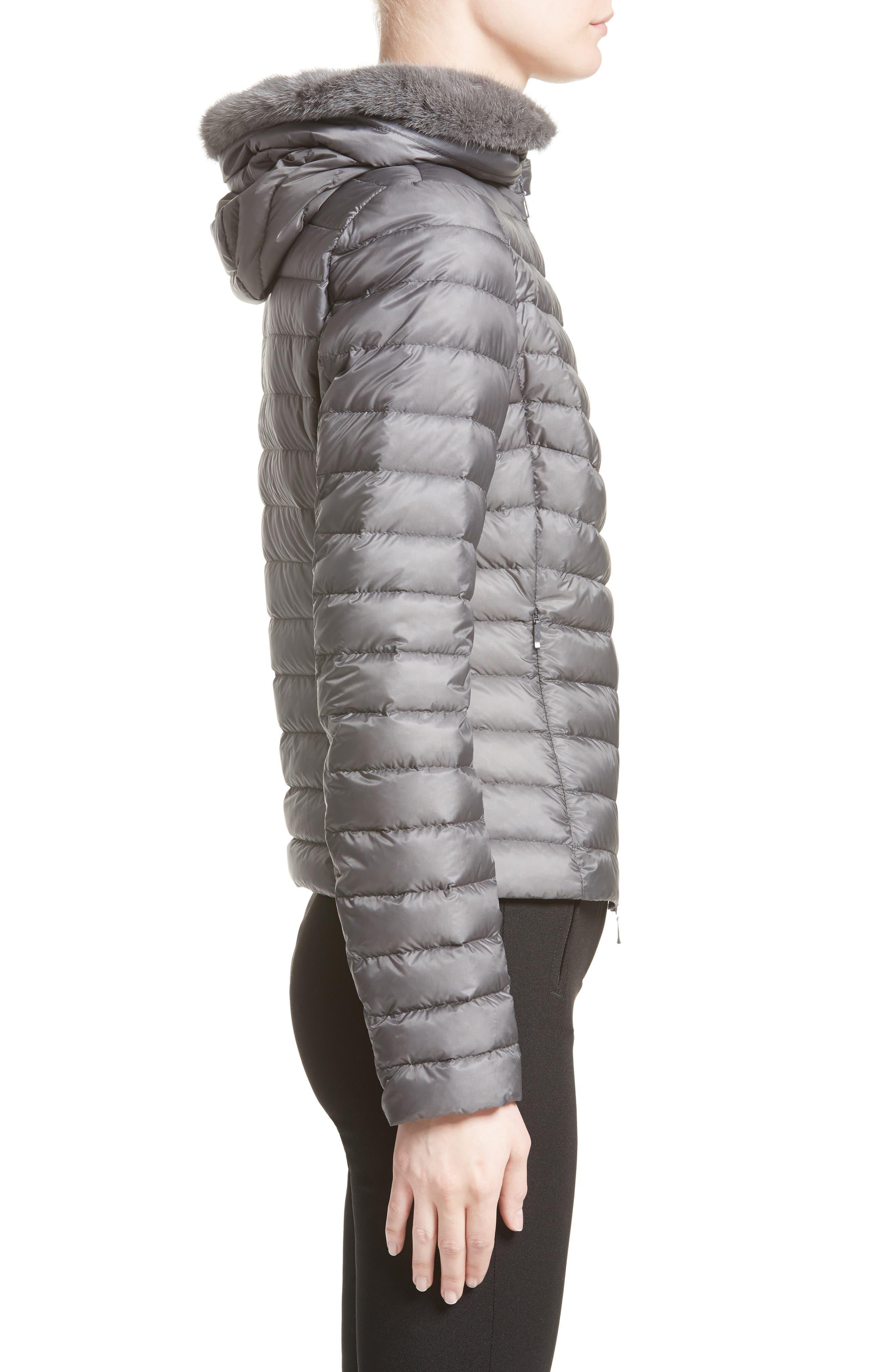 Sorbus Genuine Mink Fur Trim Quilted Jacket,                             Alternate thumbnail 3, color,                             GREY