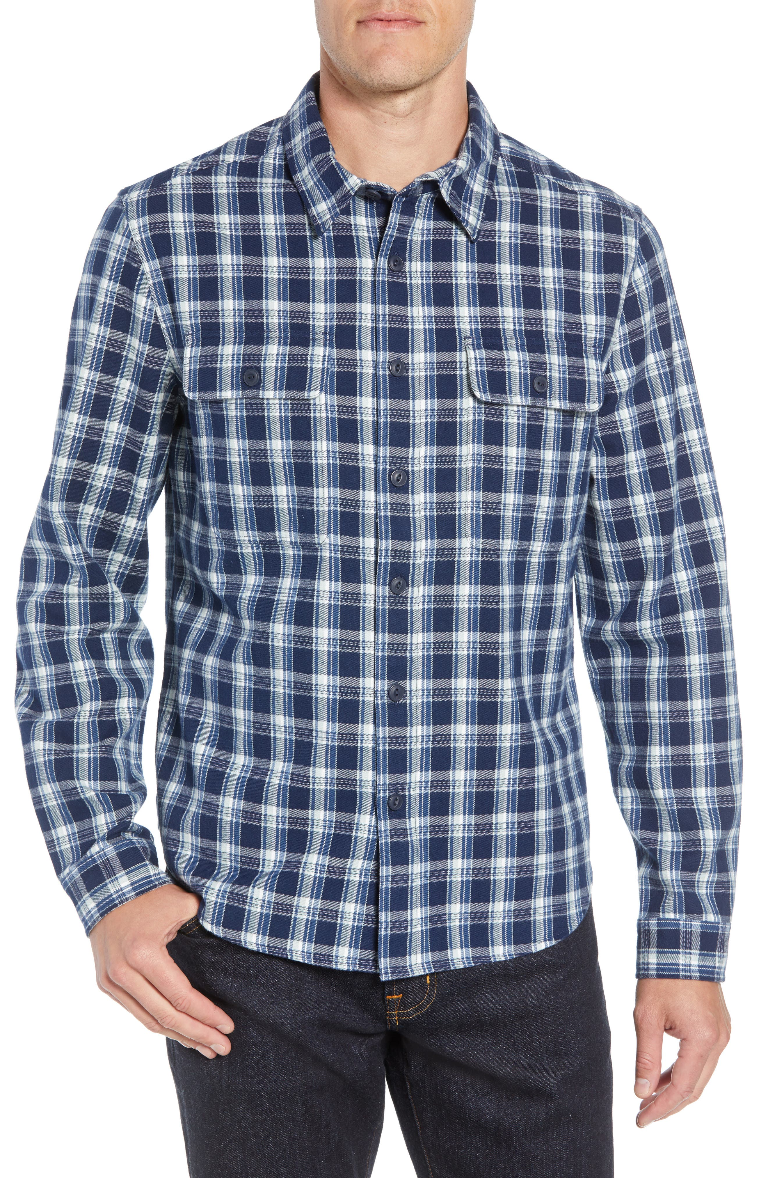 UGG<SUP>®</SUP>,                             Anders Flannel Sport Shirt,                             Main thumbnail 1, color,                             DARK DENIM PLAID