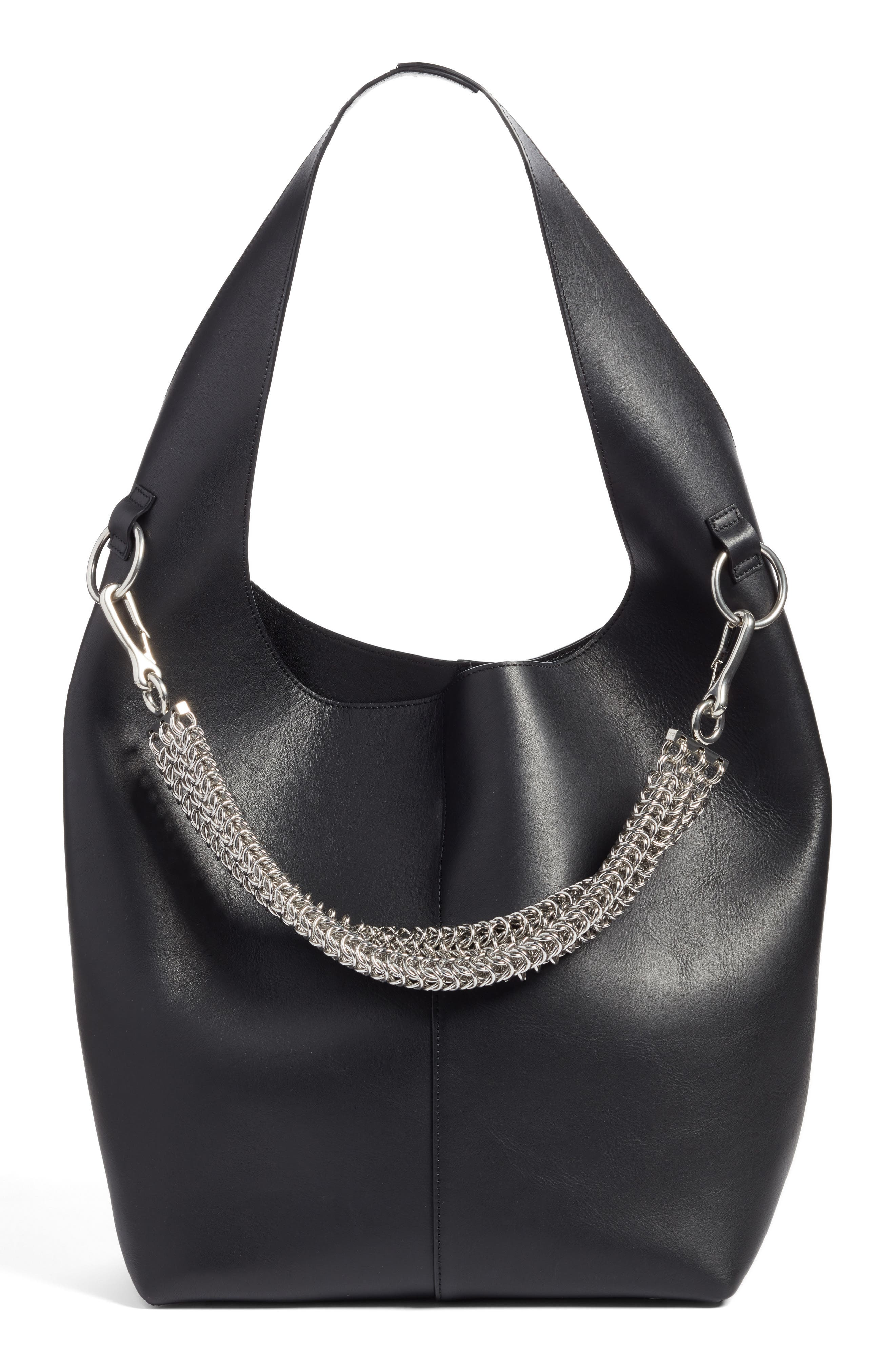 Genesis Box Chain Leather Hobo,                             Main thumbnail 1, color,                             BLACK