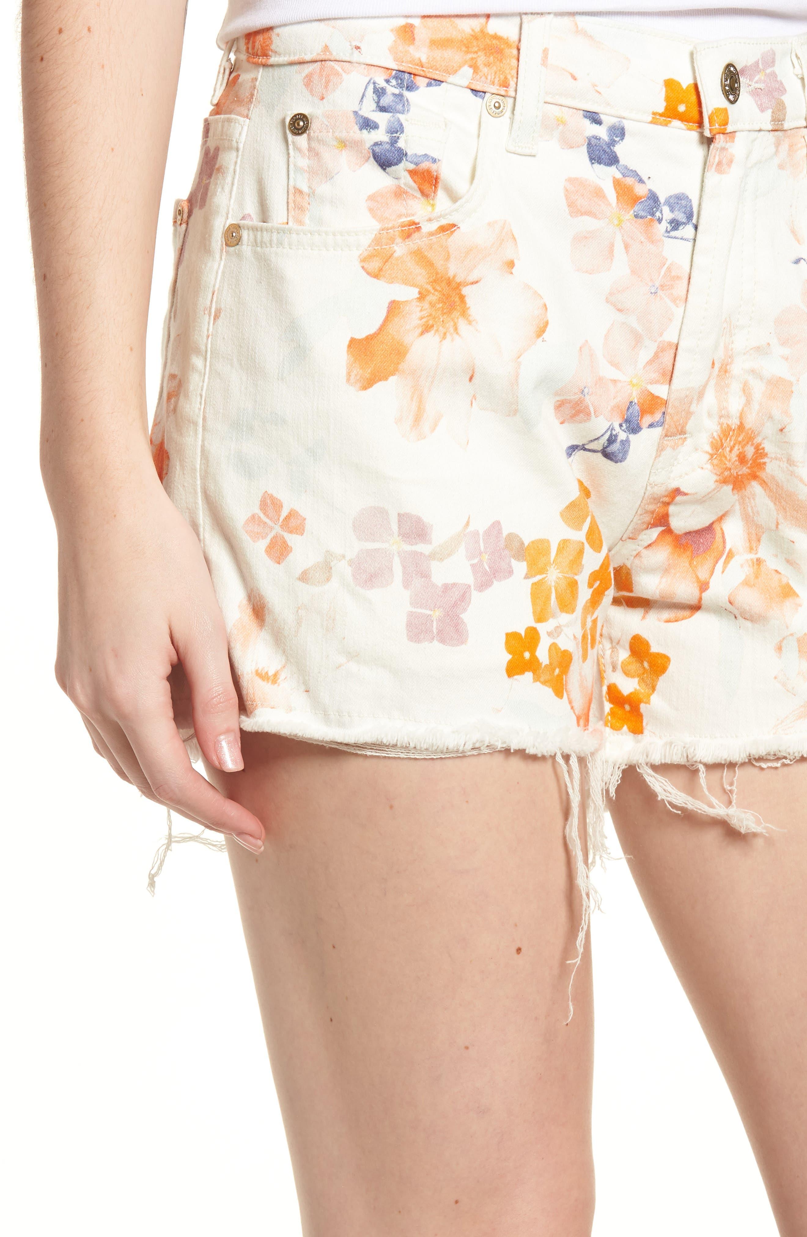Cutoff Denim Shorts,                             Alternate thumbnail 4, color,                             651