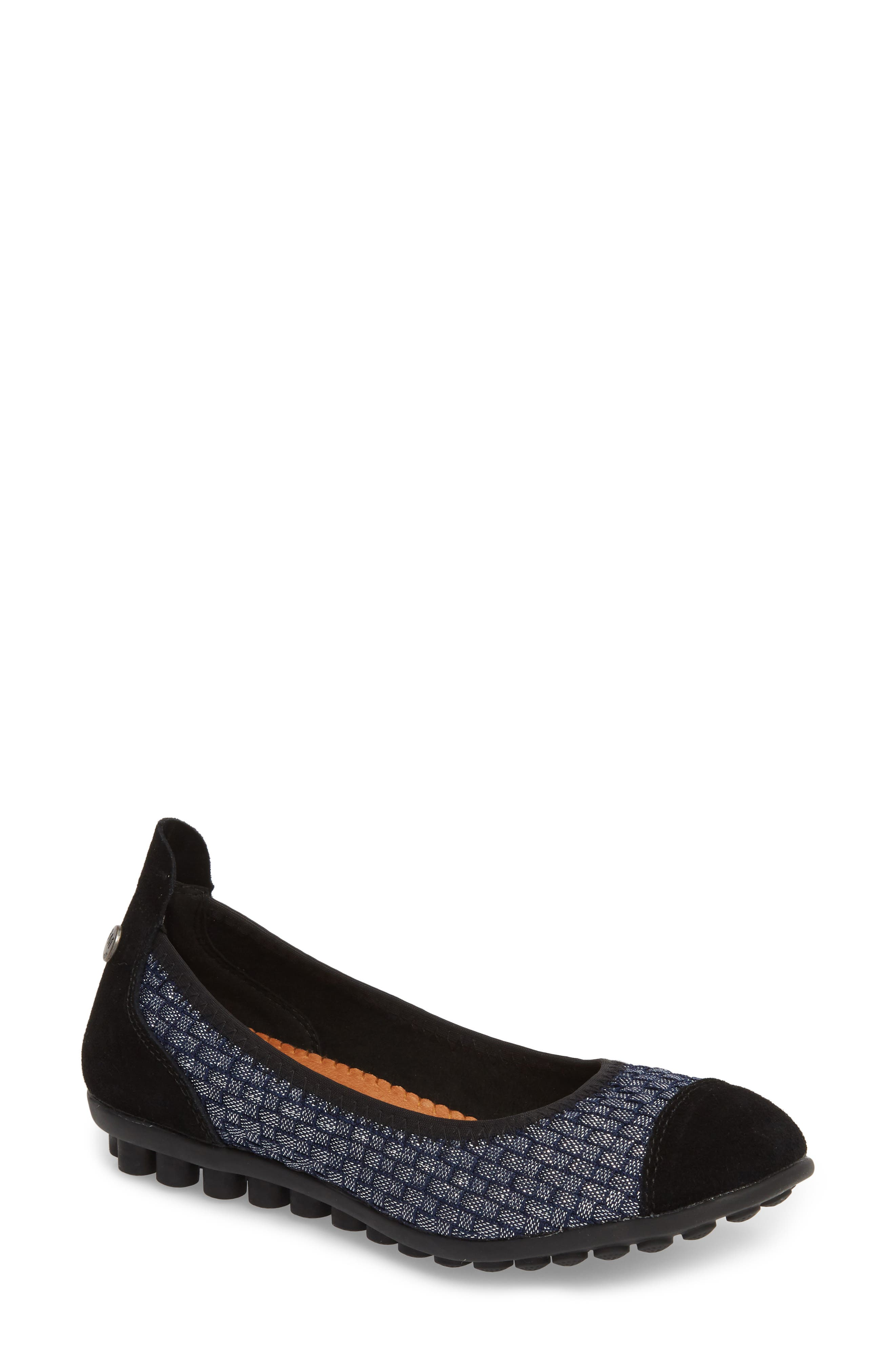 'Bella Me' Woven Flat,                         Main,                         color, NAVY SHIMMER FABRIC