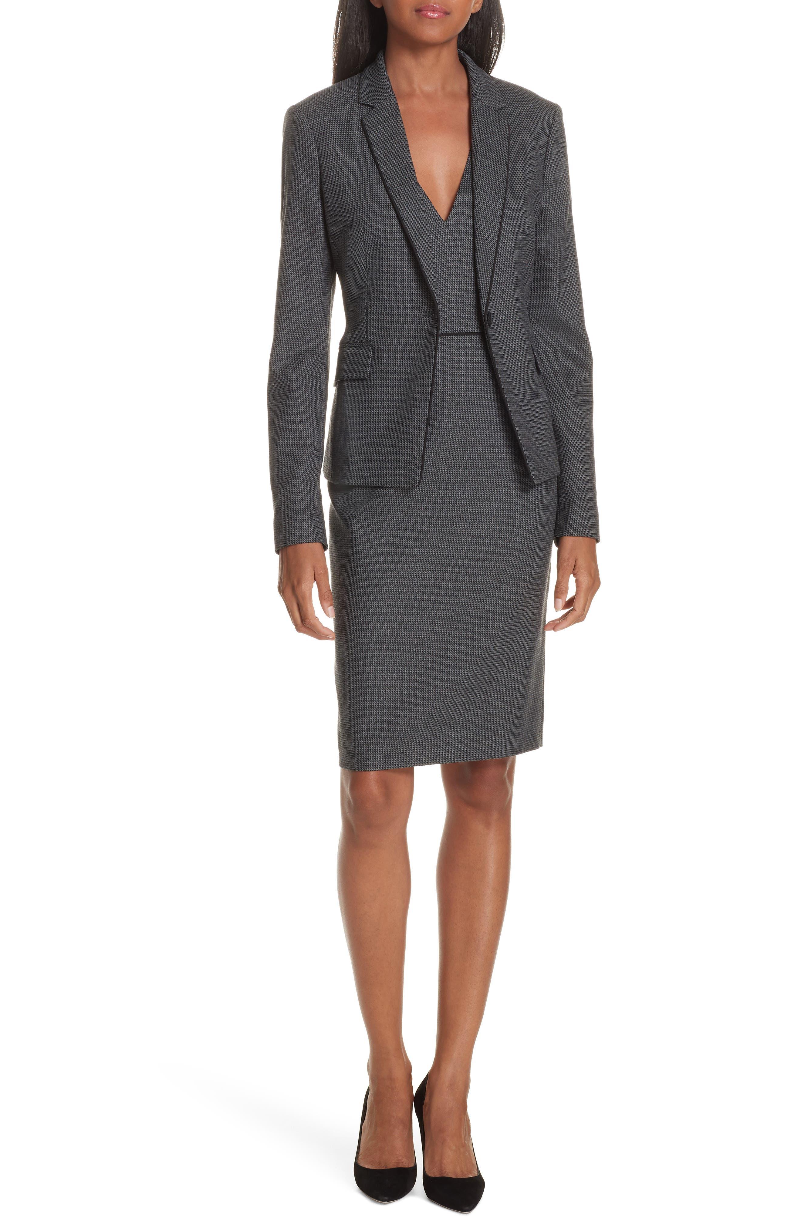 Jorita Geometric Wool Blend Suit Jacket,                             Alternate thumbnail 7, color,                             GREY FANTASY
