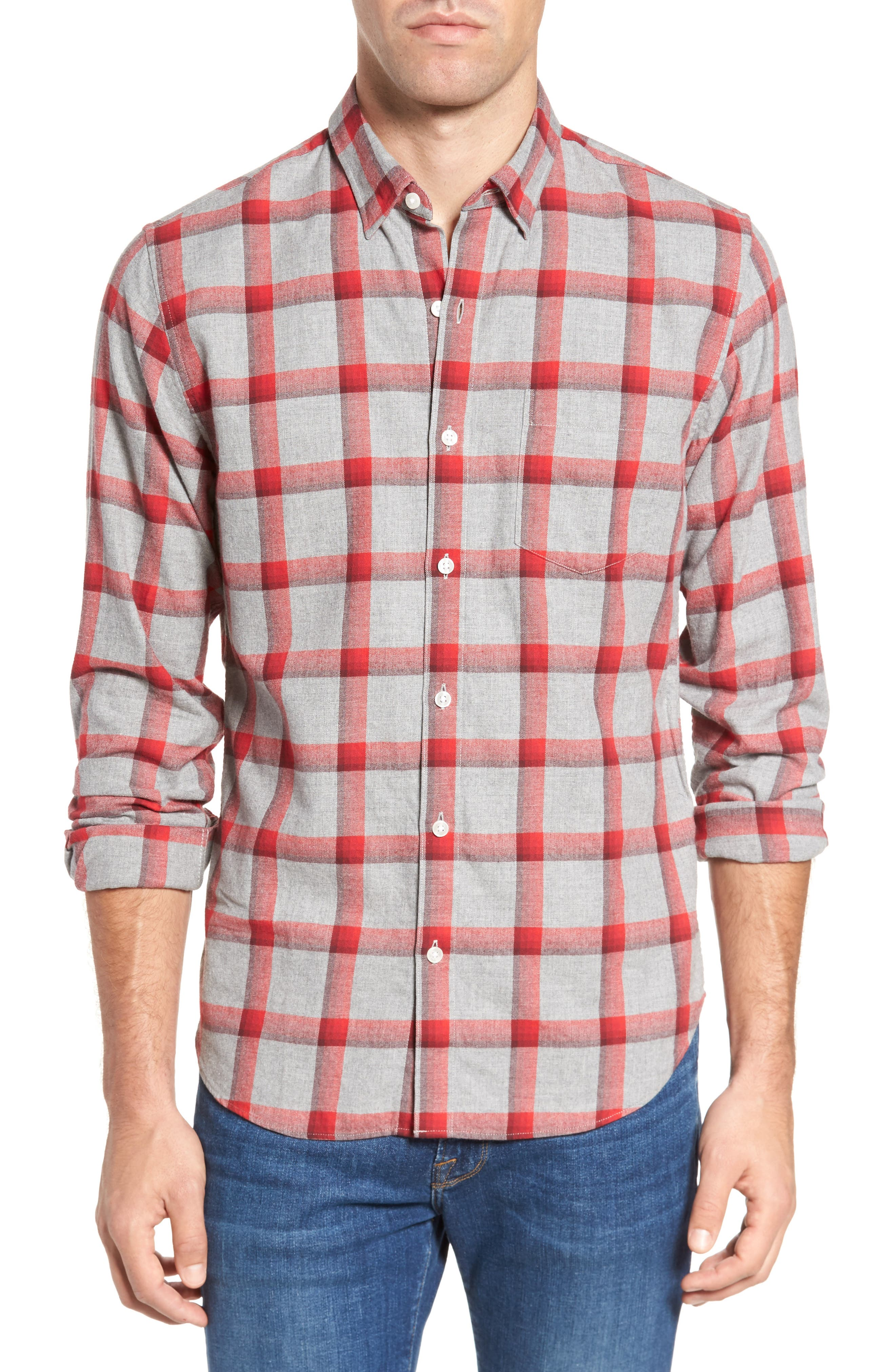 Slim Fit Brushed Check Sport Shirt,                         Main,                         color, 020
