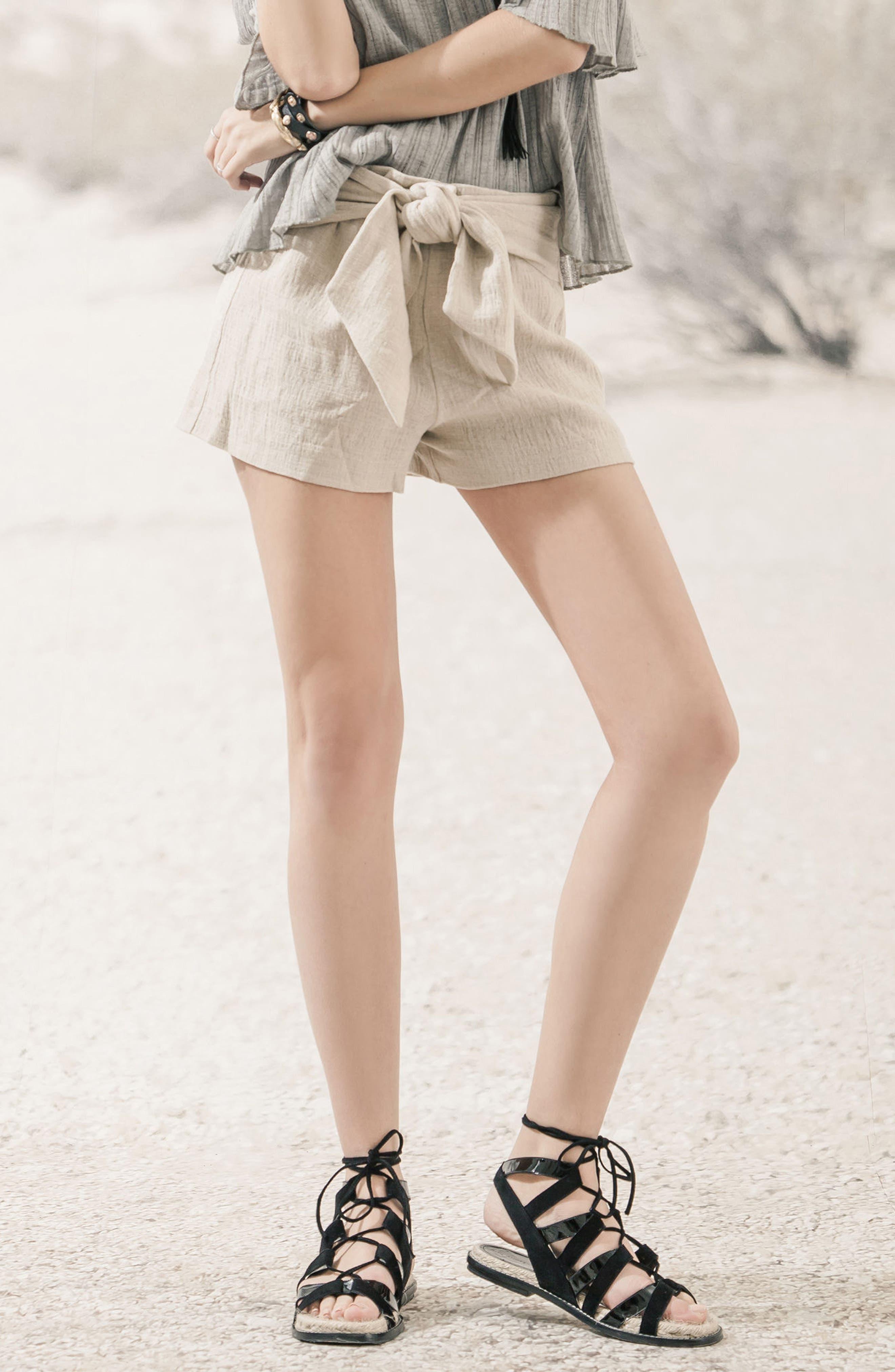 Tie Waist Linen & Cotton Shorts,                             Alternate thumbnail 7, color,                             250