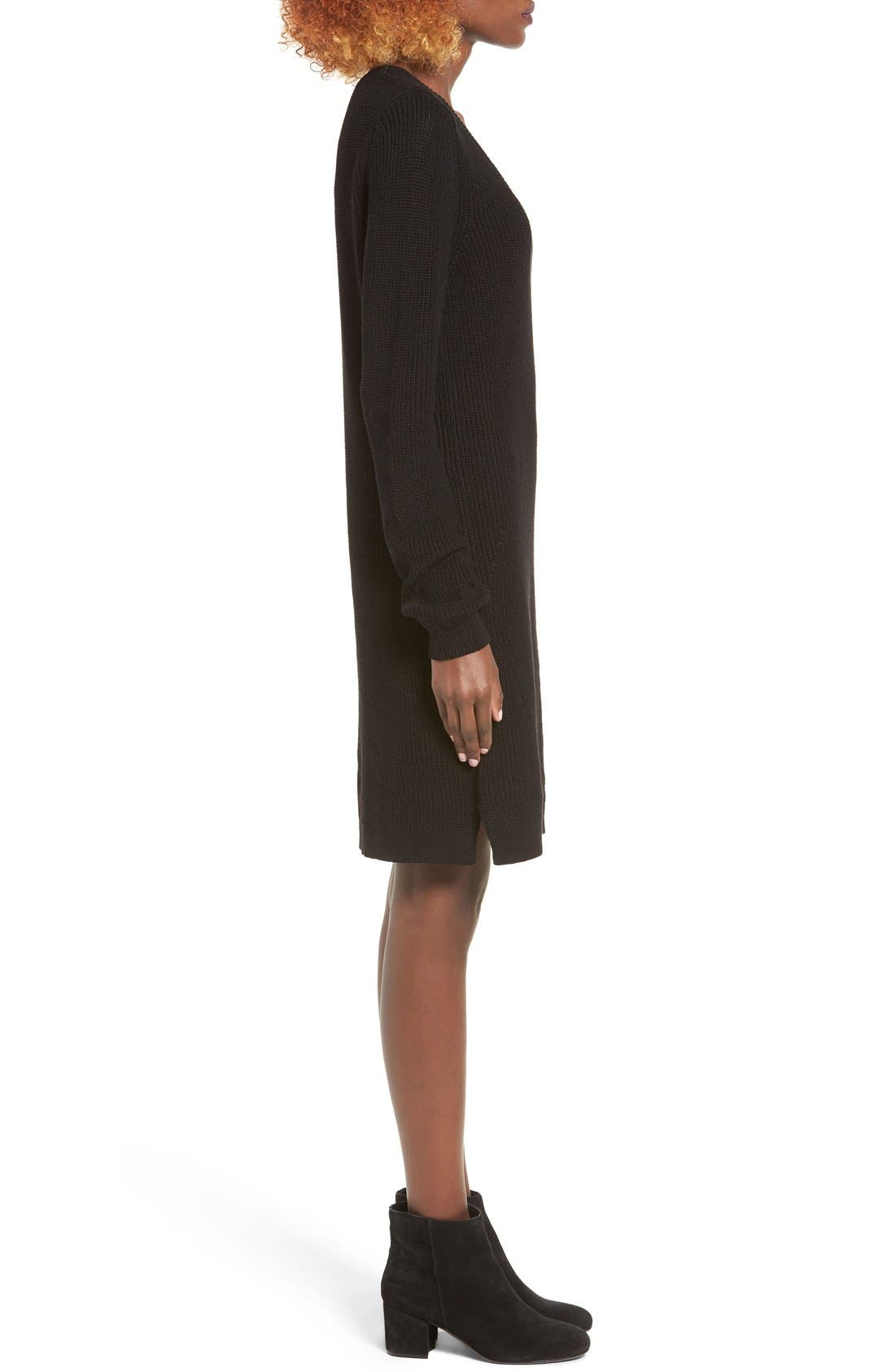 BP.,                             Shaker Stitch Sweater Dress,                             Alternate thumbnail 3, color,                             001