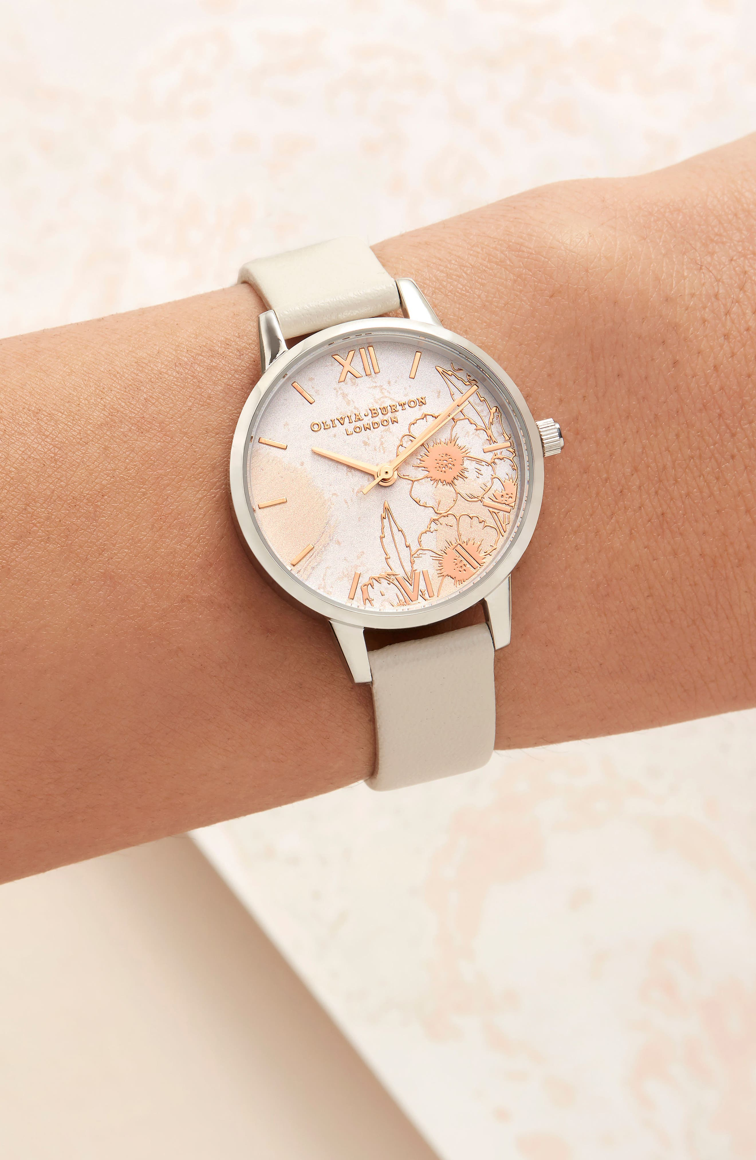 Abstract Floral Leather Strap Watch, 30mm,                             Alternate thumbnail 8, color,                             NUDE PEACH/ FLORAL/ SILVER