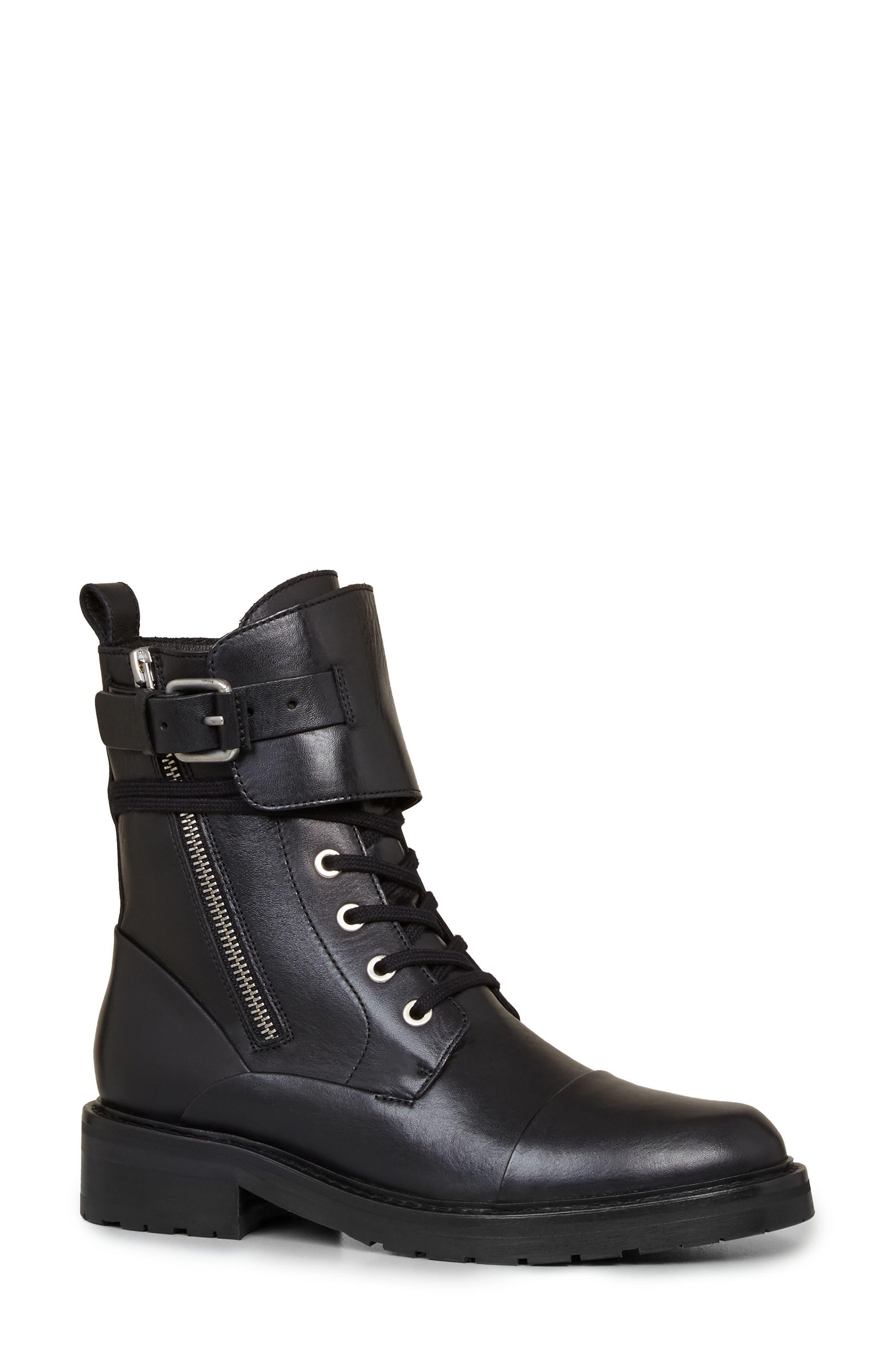 Daria Cuffed Combat Boot,                         Main,                         color, 001