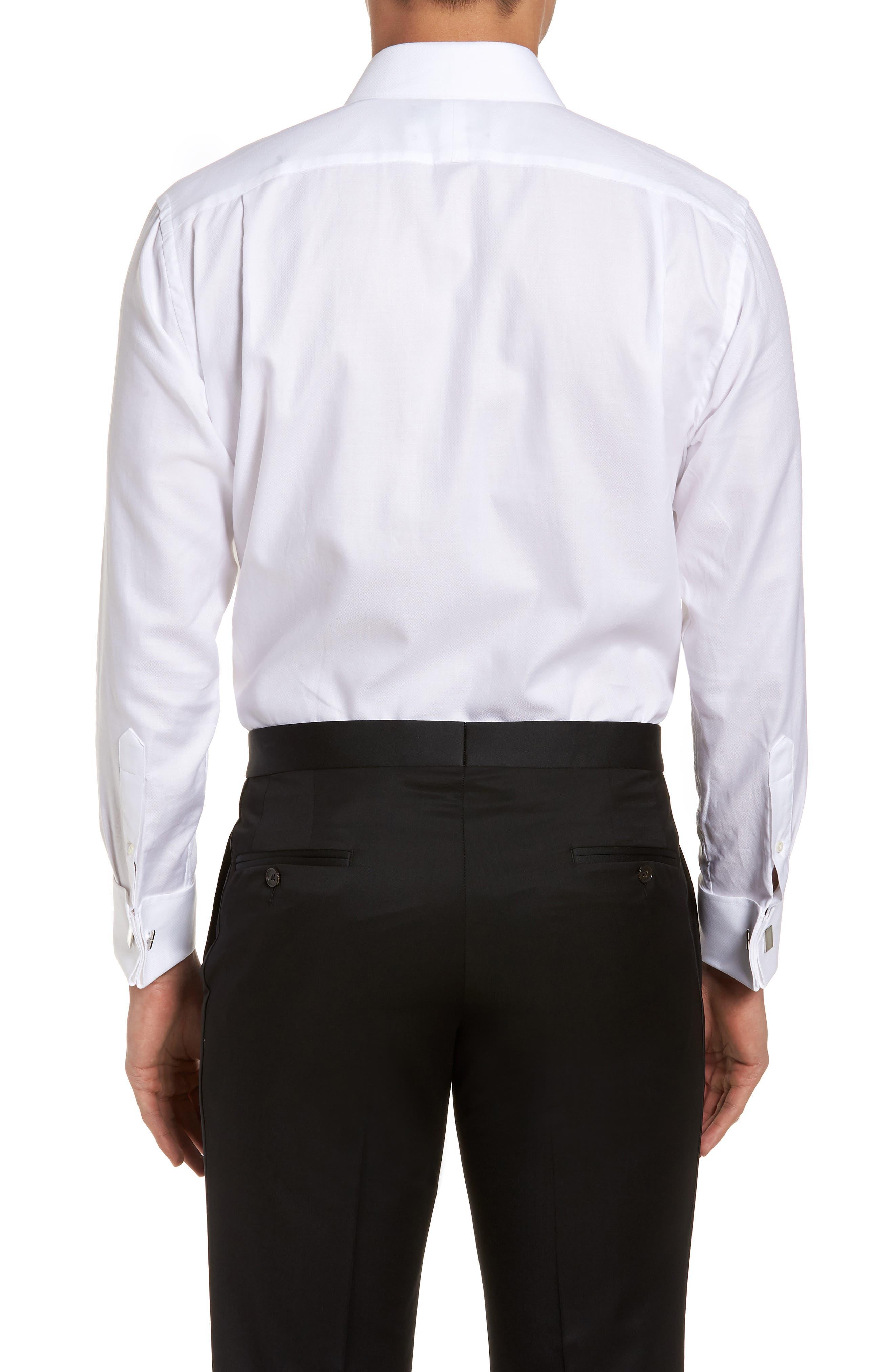 Trim Fit Tuxedo Shirt,                             Alternate thumbnail 3, color,                             100